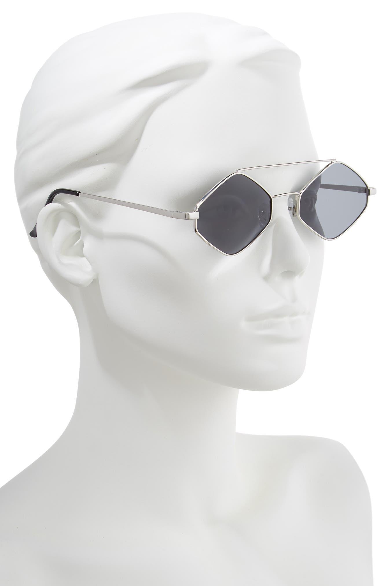 55mm Brow Bar Geometric Sunglasses,                             Alternate thumbnail 2, color,                             040