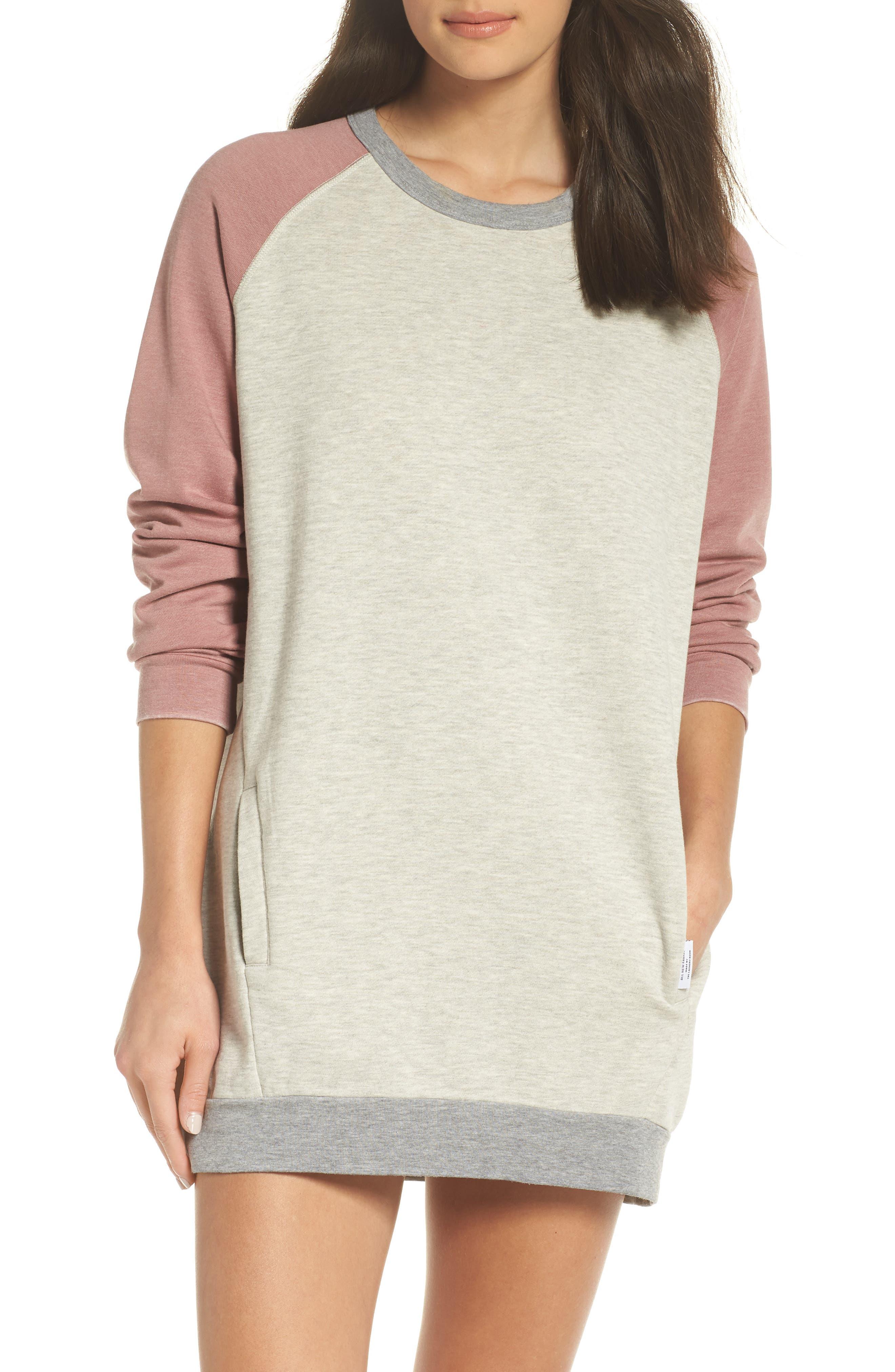 Lounge Sweatshirt Dress,                             Main thumbnail 1, color,                             PEBBLE HEATHER / MAUVE