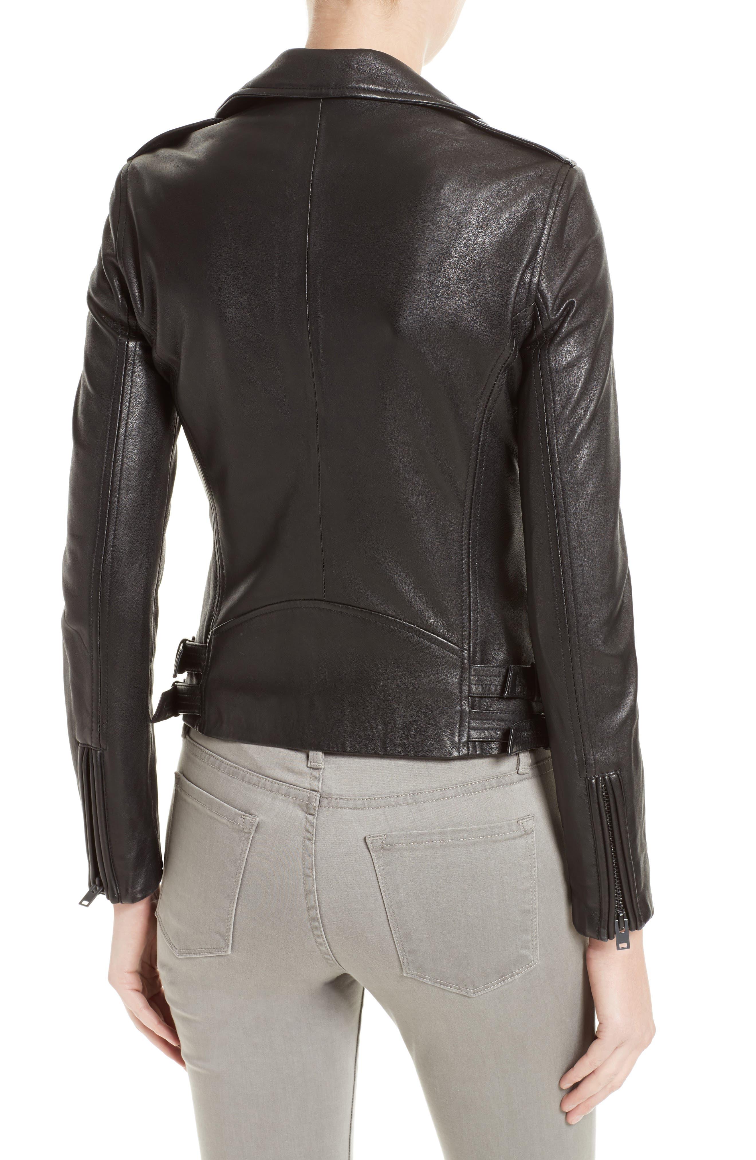 'Han' Lambskin Leather Moto Jacket,                             Alternate thumbnail 2, color,                             BLACK/ BLACK