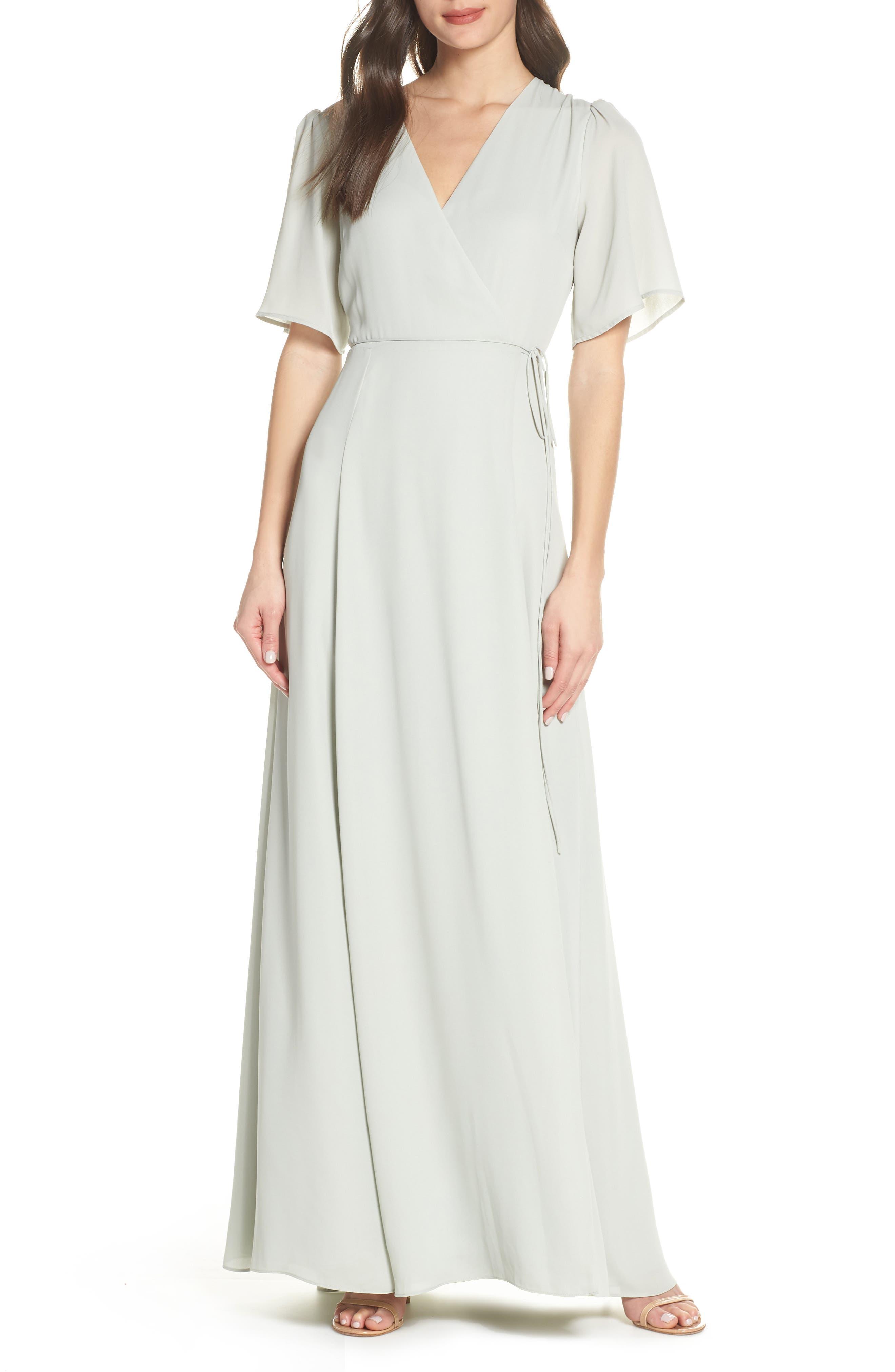 WAYF The Aurelia Short Sleeve Wrap Evening Dress, Main, color, SAGE
