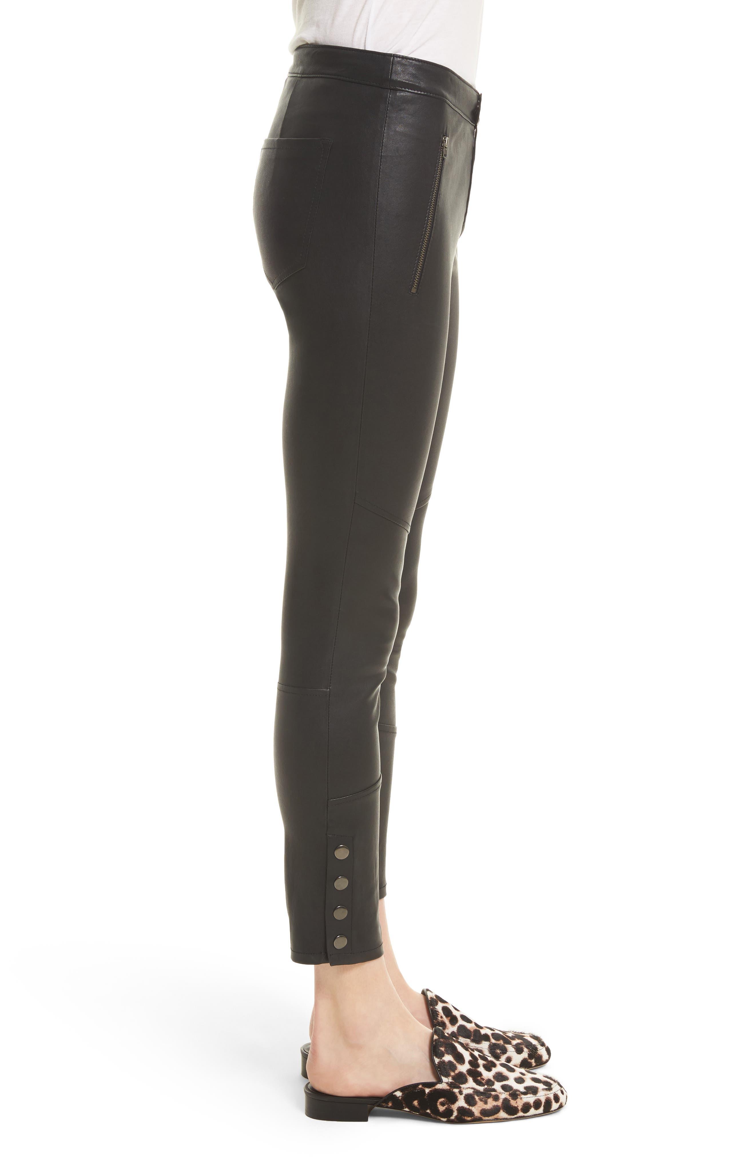 Darnella Leather Pants,                             Alternate thumbnail 3, color,                             002