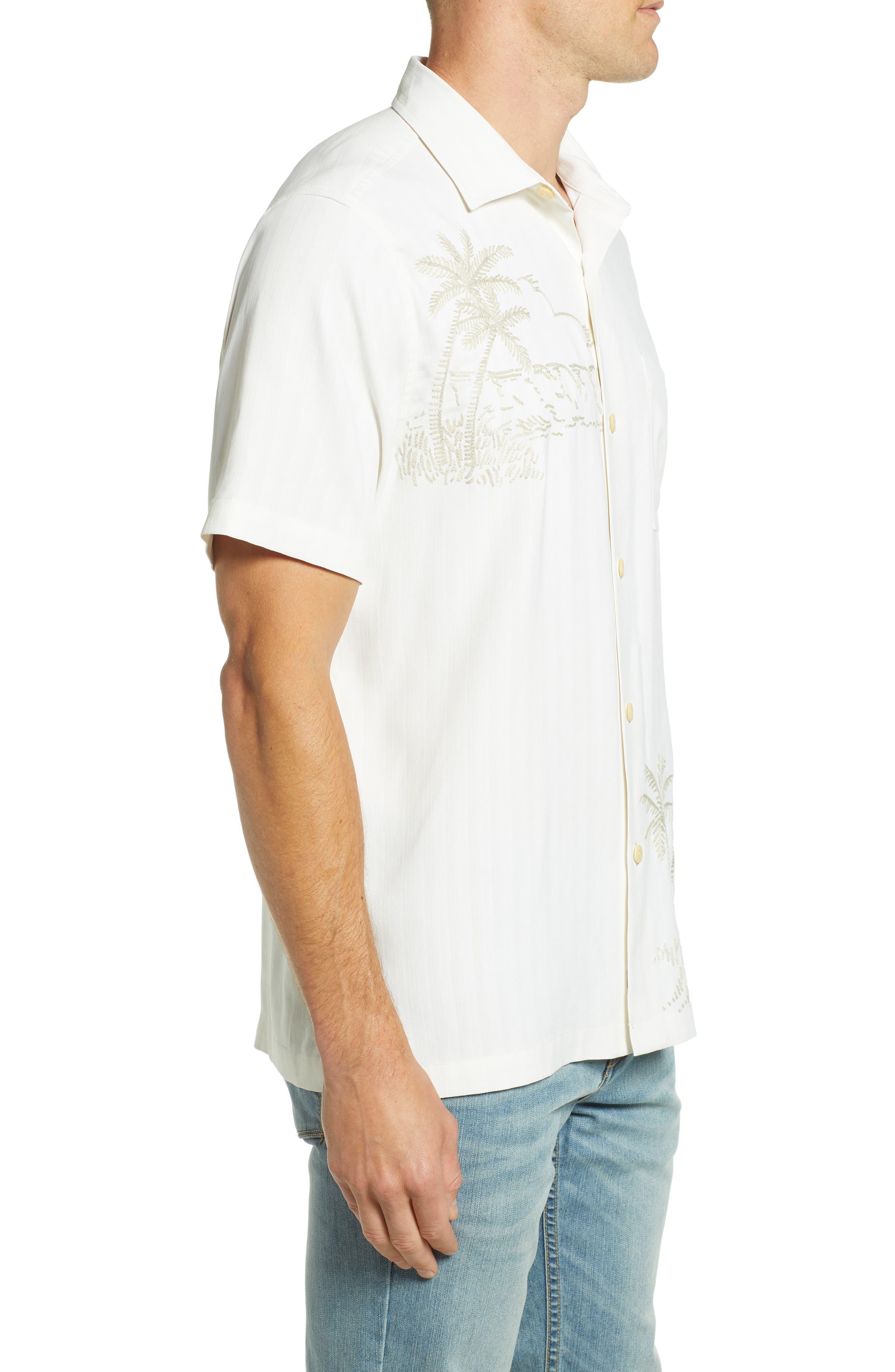 Las Playas Palms Silk Camp Shirt,                             Alternate thumbnail 3, color,                             TWILL