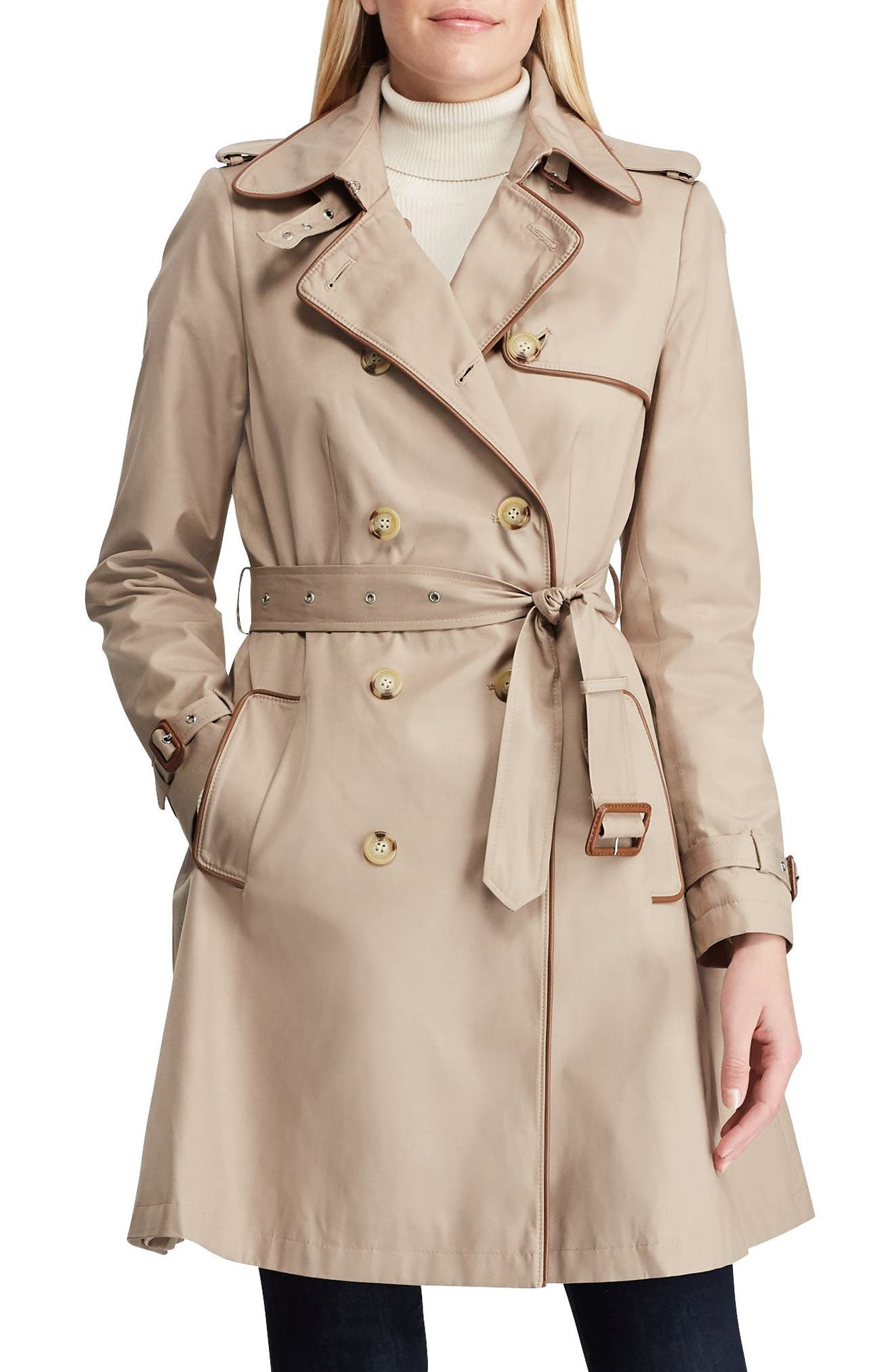 Faux Leather Trim Trench Coat,                             Main thumbnail 1, color,                             SAND 2