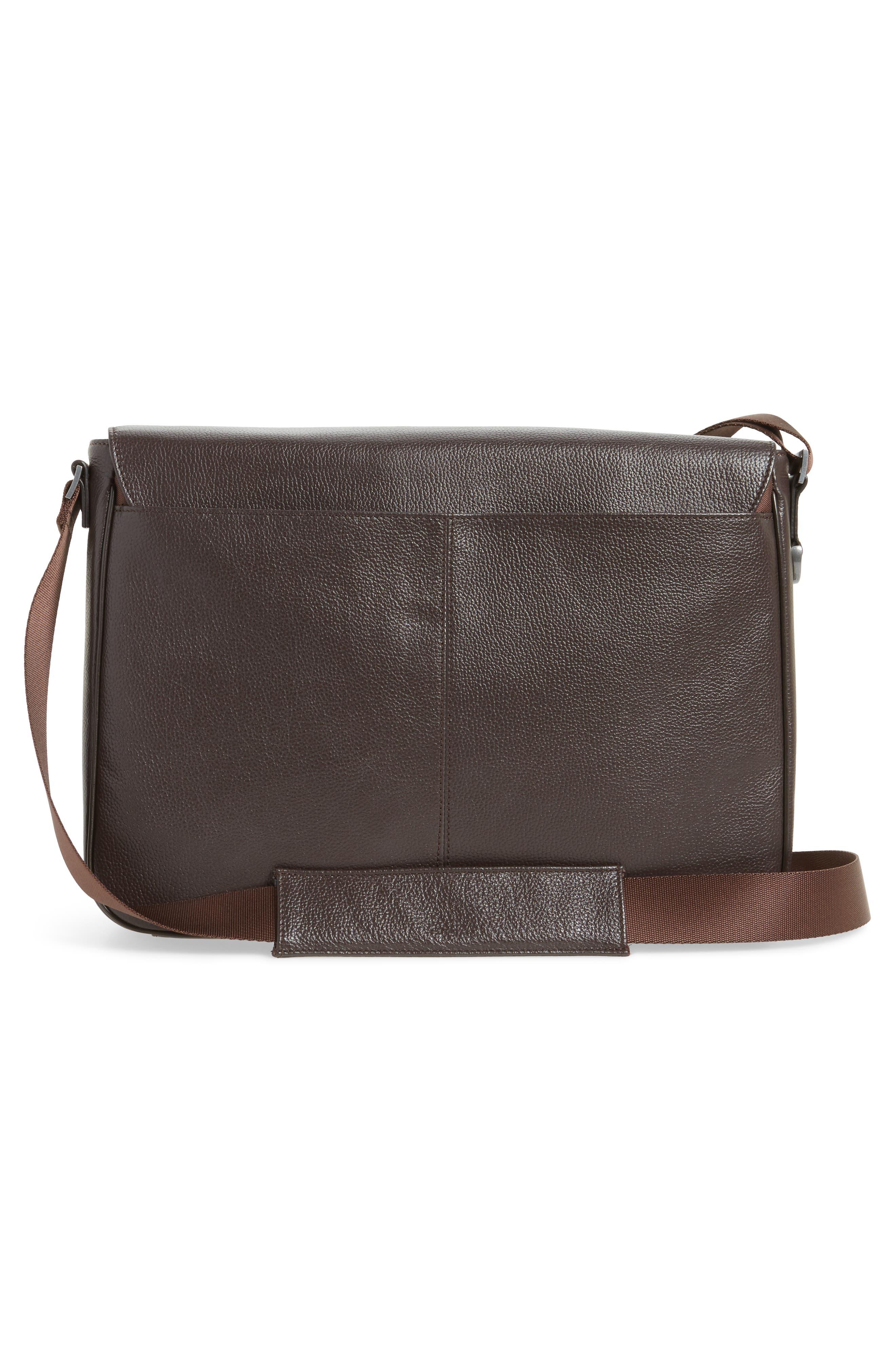 Midland Leather Messenger Bag,                             Alternate thumbnail 3, color,                             BROWN