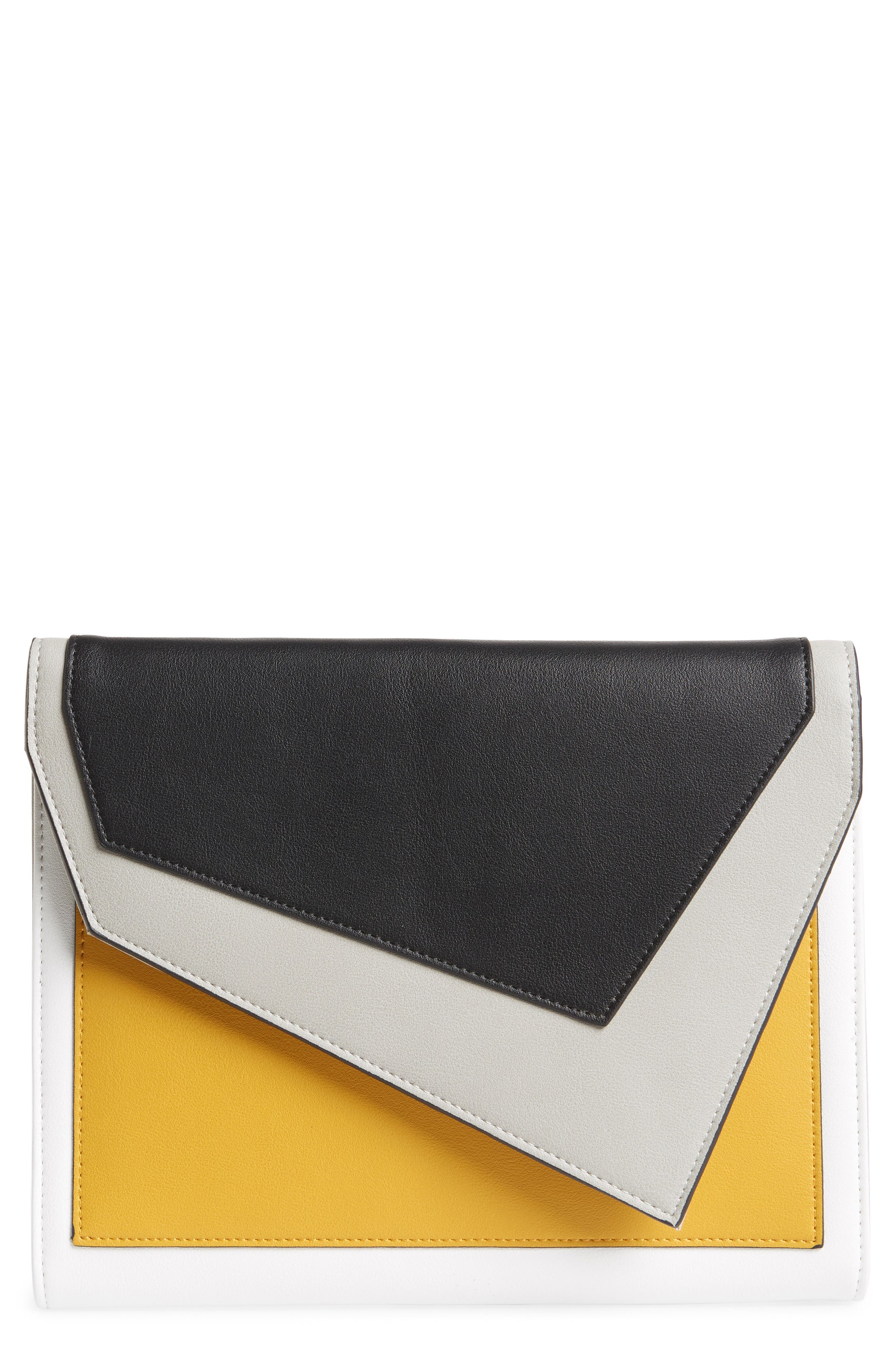 Colorblock Faux Leather Envelope Clutch,                             Main thumbnail 1, color,                             YELLOW MULTI