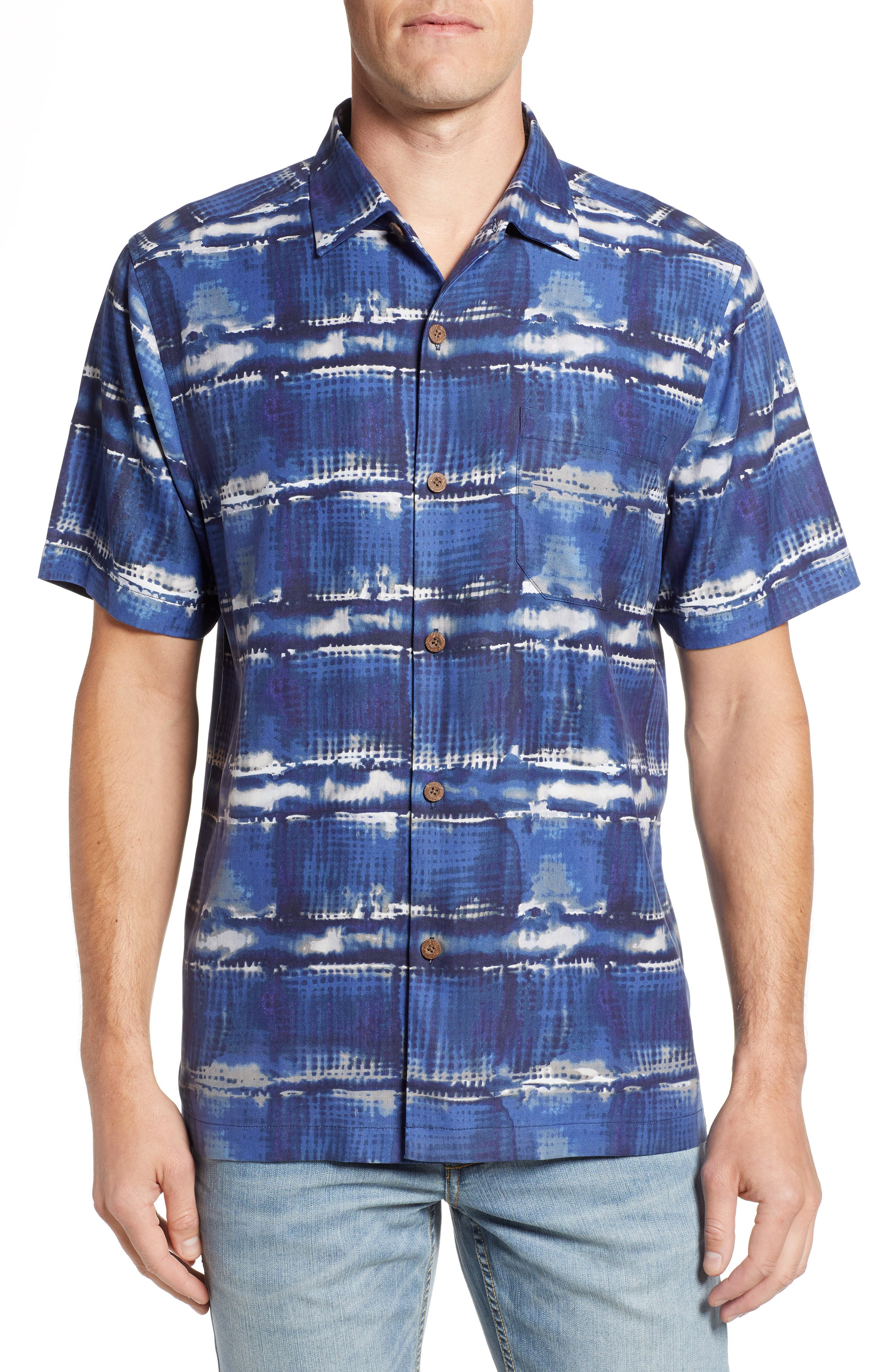 Tie Dye For Silk Camp Shirt,                         Main,                         color, BLUE JEAN