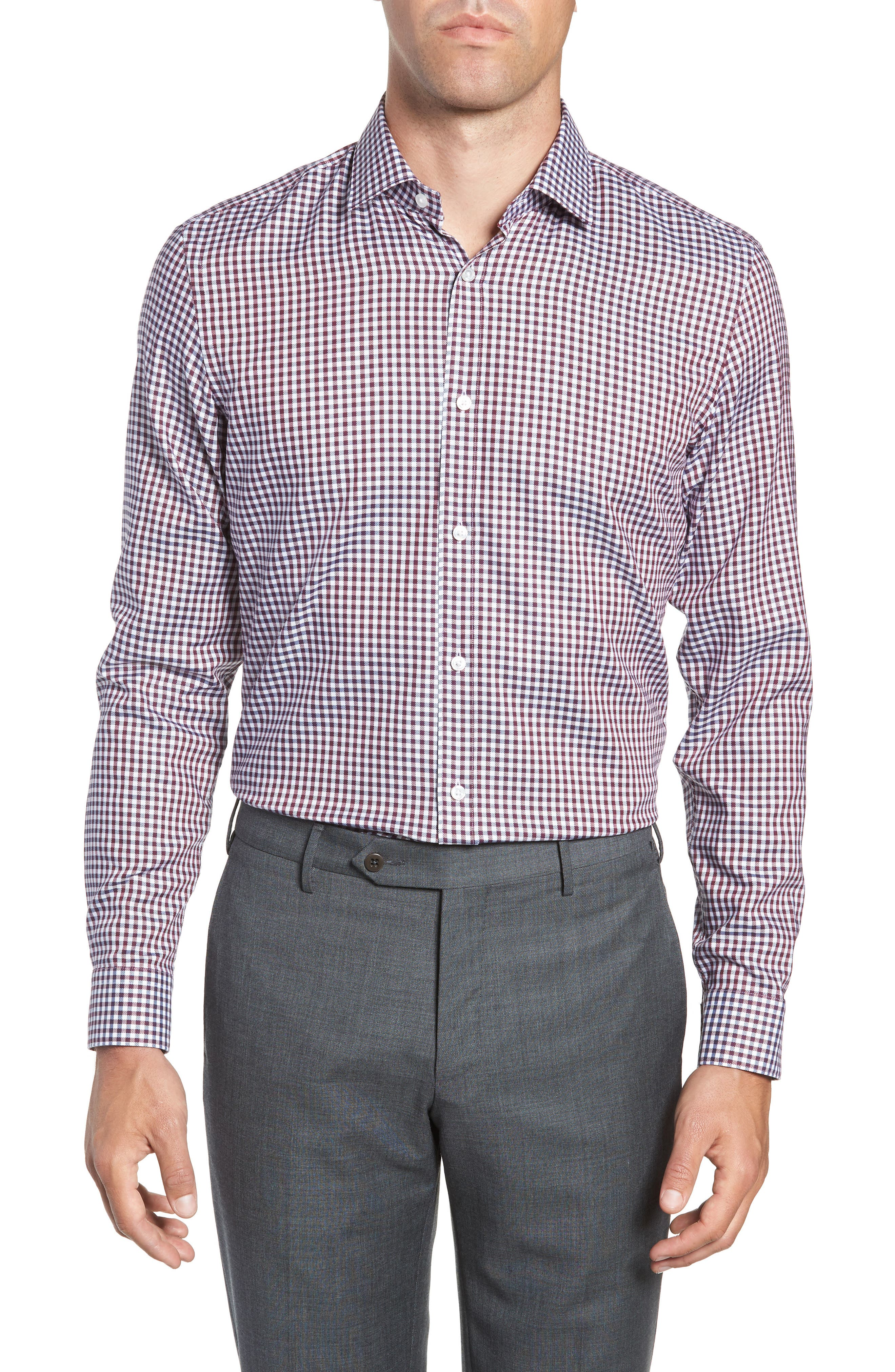 x Nordstrom Isaac Slim Fit Check Dress Shirt,                         Main,                         color, RED