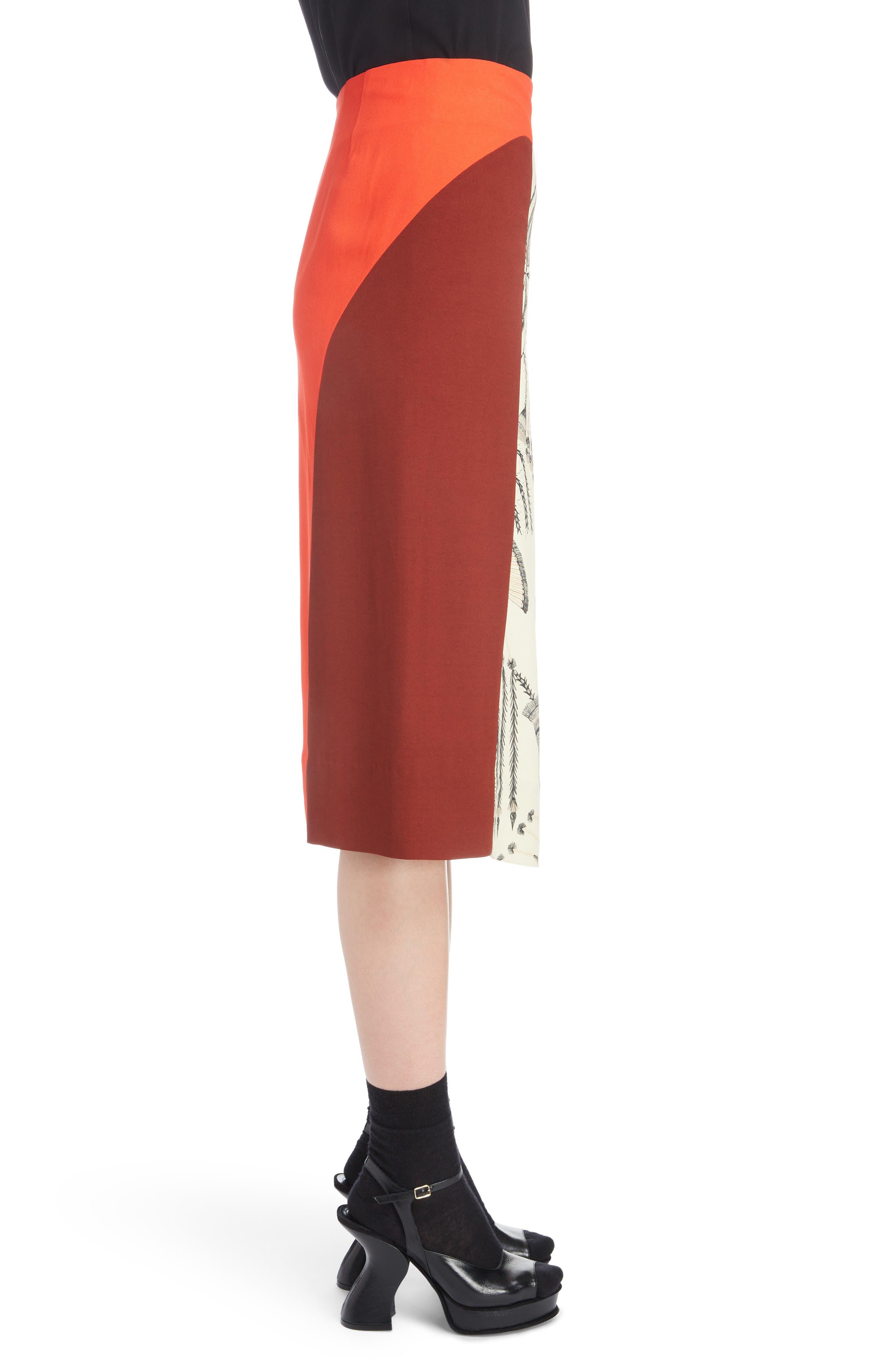 Asymmetrical Colorblock Print Skirt,                             Alternate thumbnail 3, color,                             ECRU