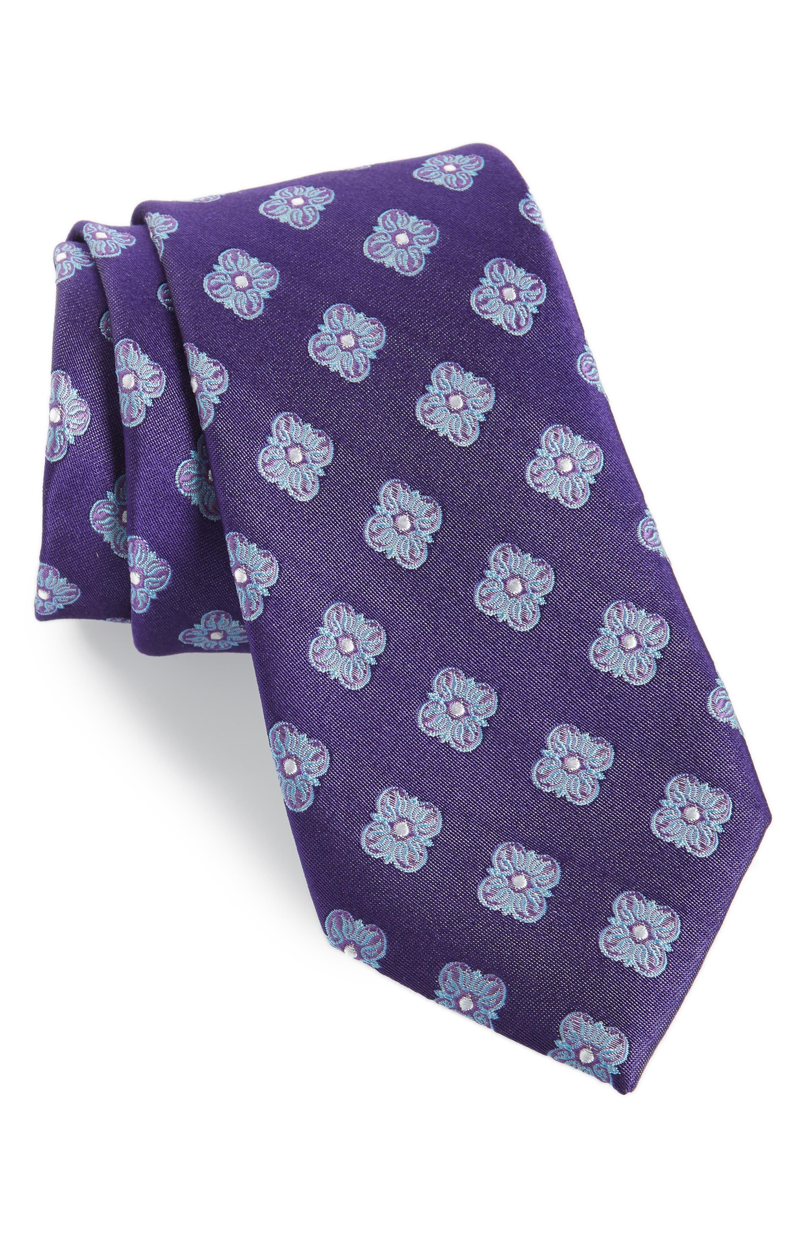 Cameron Floral Medallion Silk Tie,                             Main thumbnail 6, color,