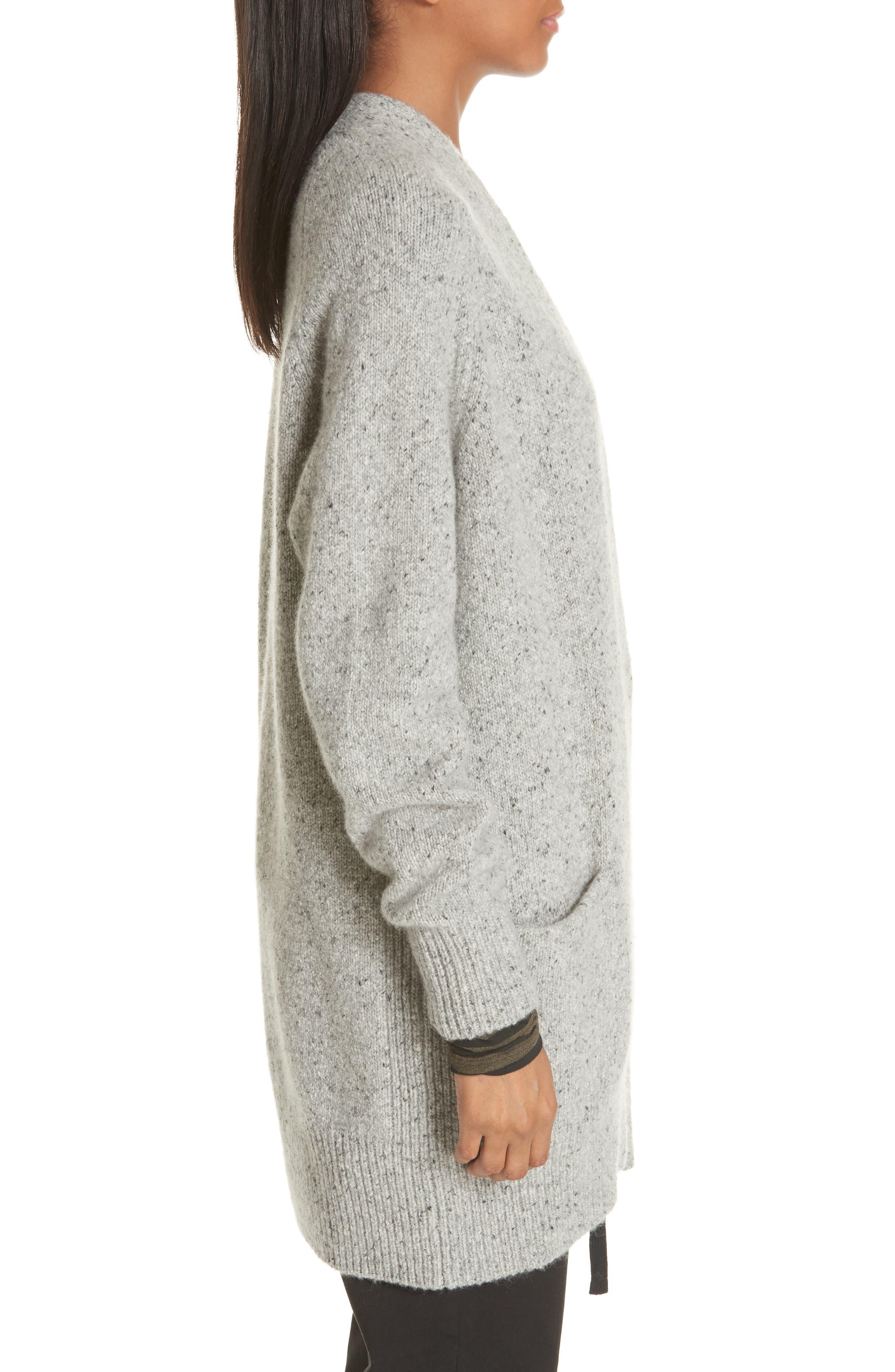 Cashmere Raglan Sleeve Open Front Cardigan,                             Alternate thumbnail 3, color,                             SOFT GREY
