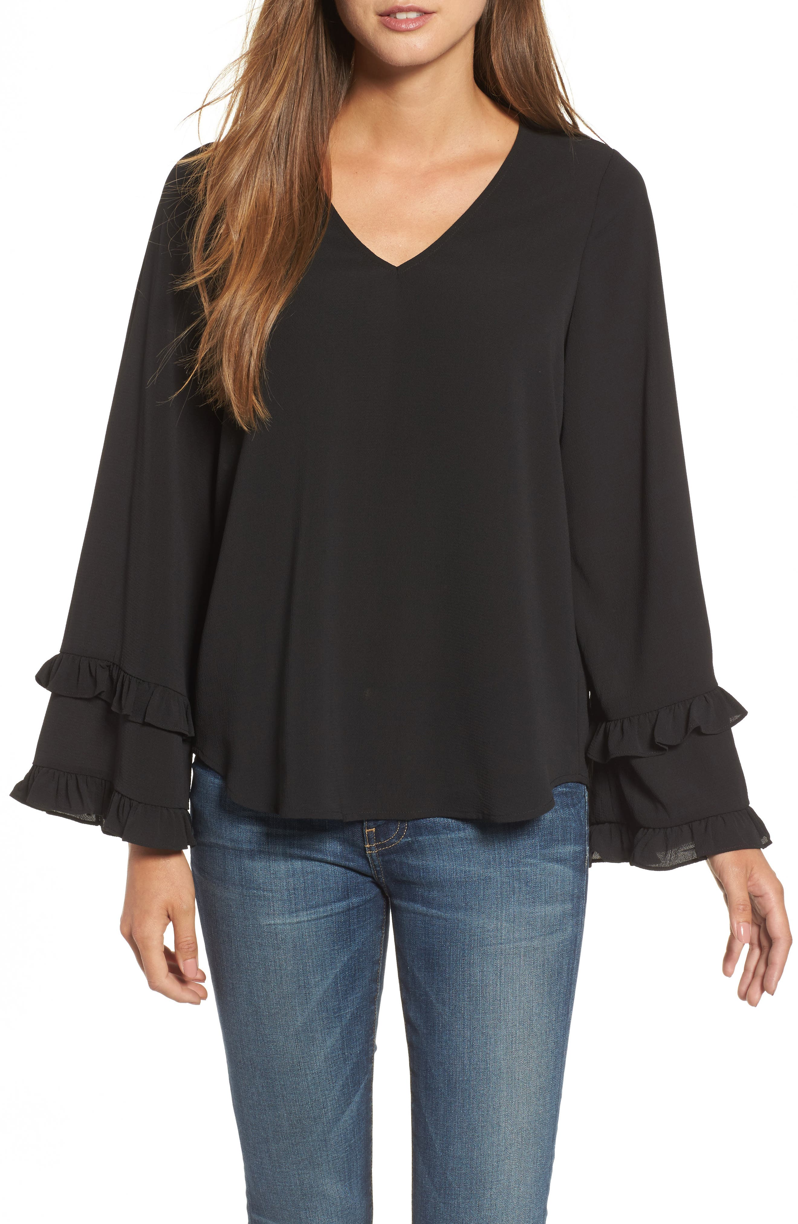 Ruffle Bell Sleeve Top,                         Main,                         color, 001