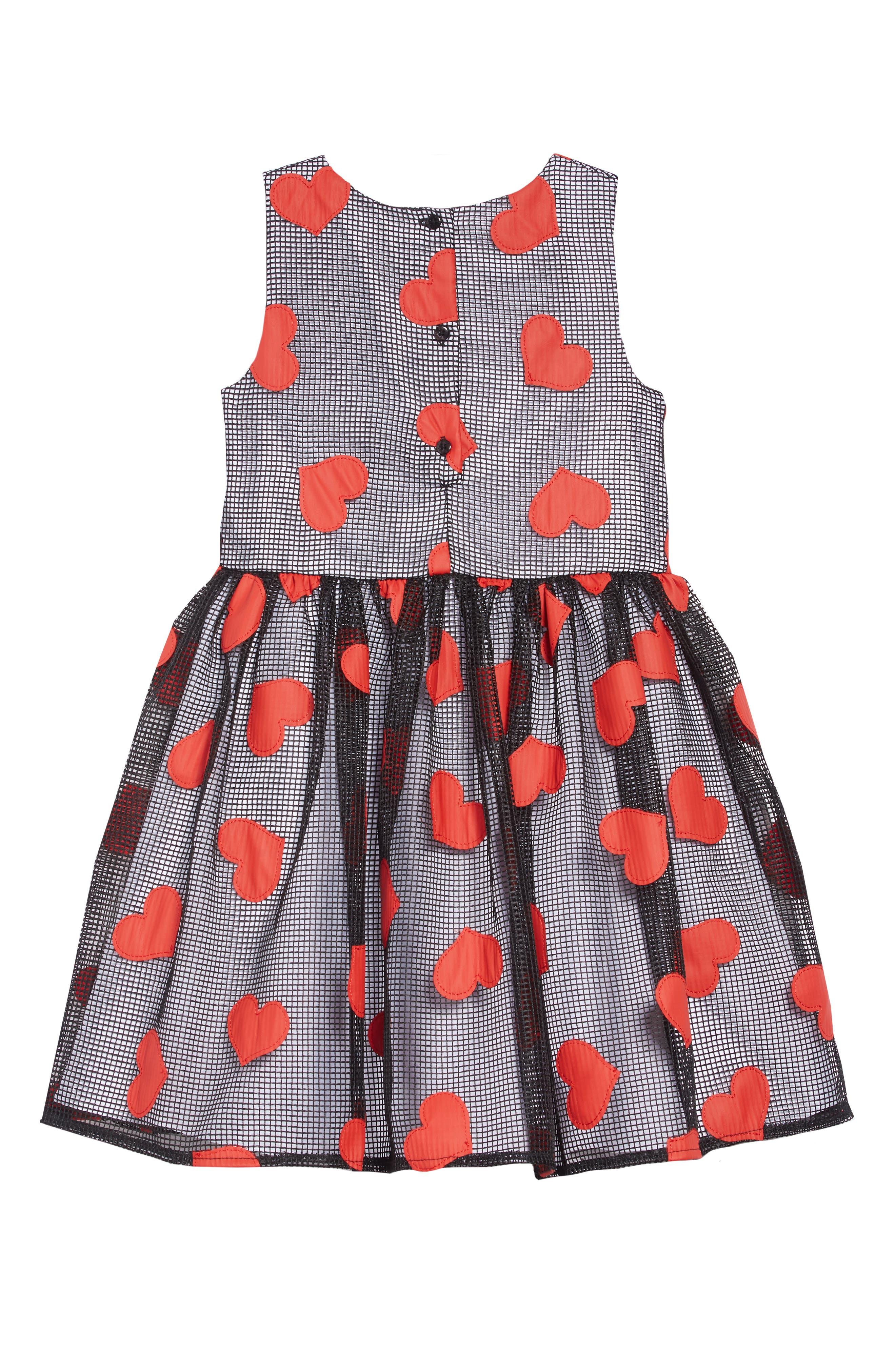 Heart Appliqué Mesh Party Dress,                             Alternate thumbnail 2, color,                             BLACK/ RED