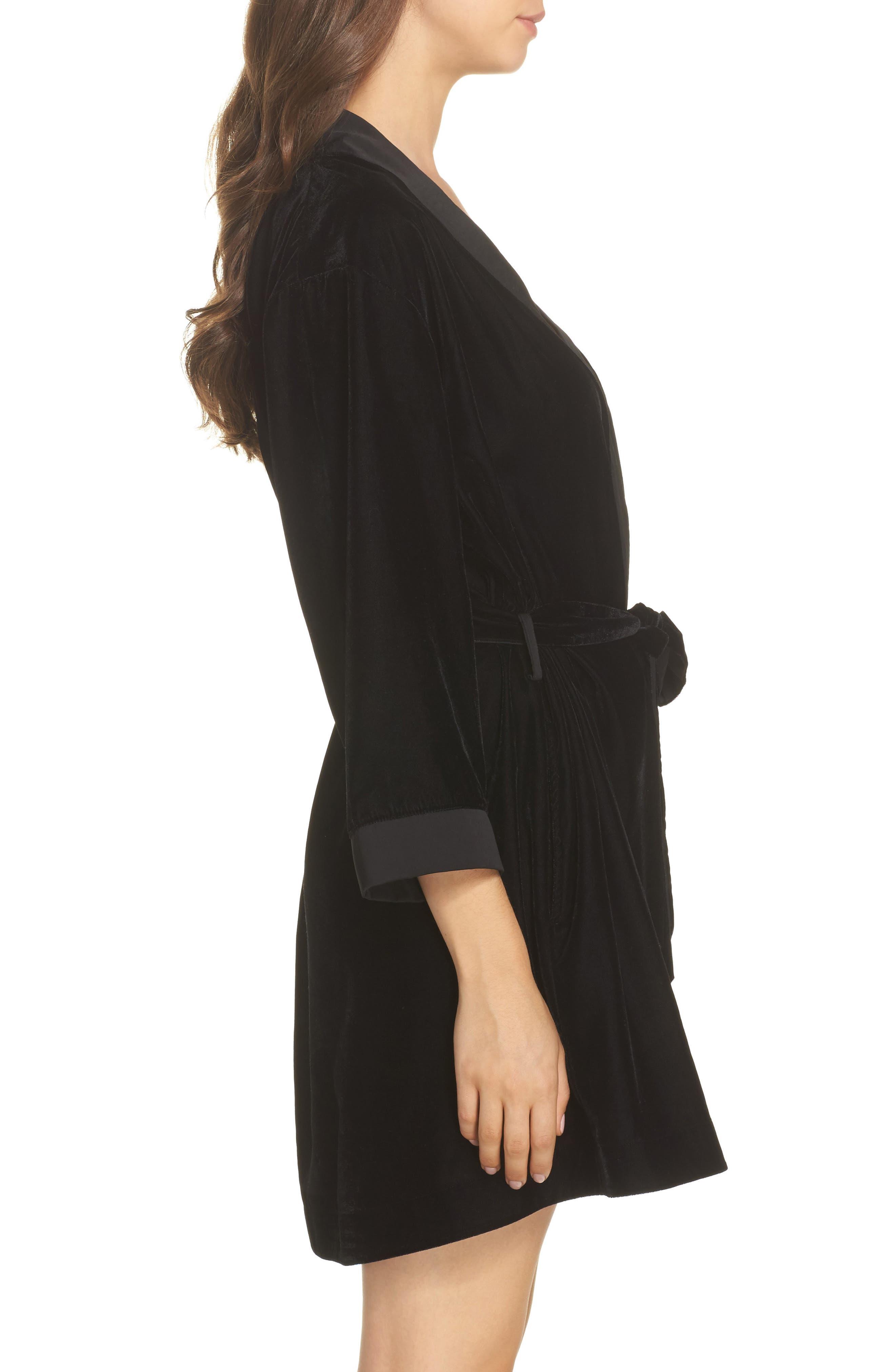 Velvet Short Robe,                             Alternate thumbnail 3, color,                             001