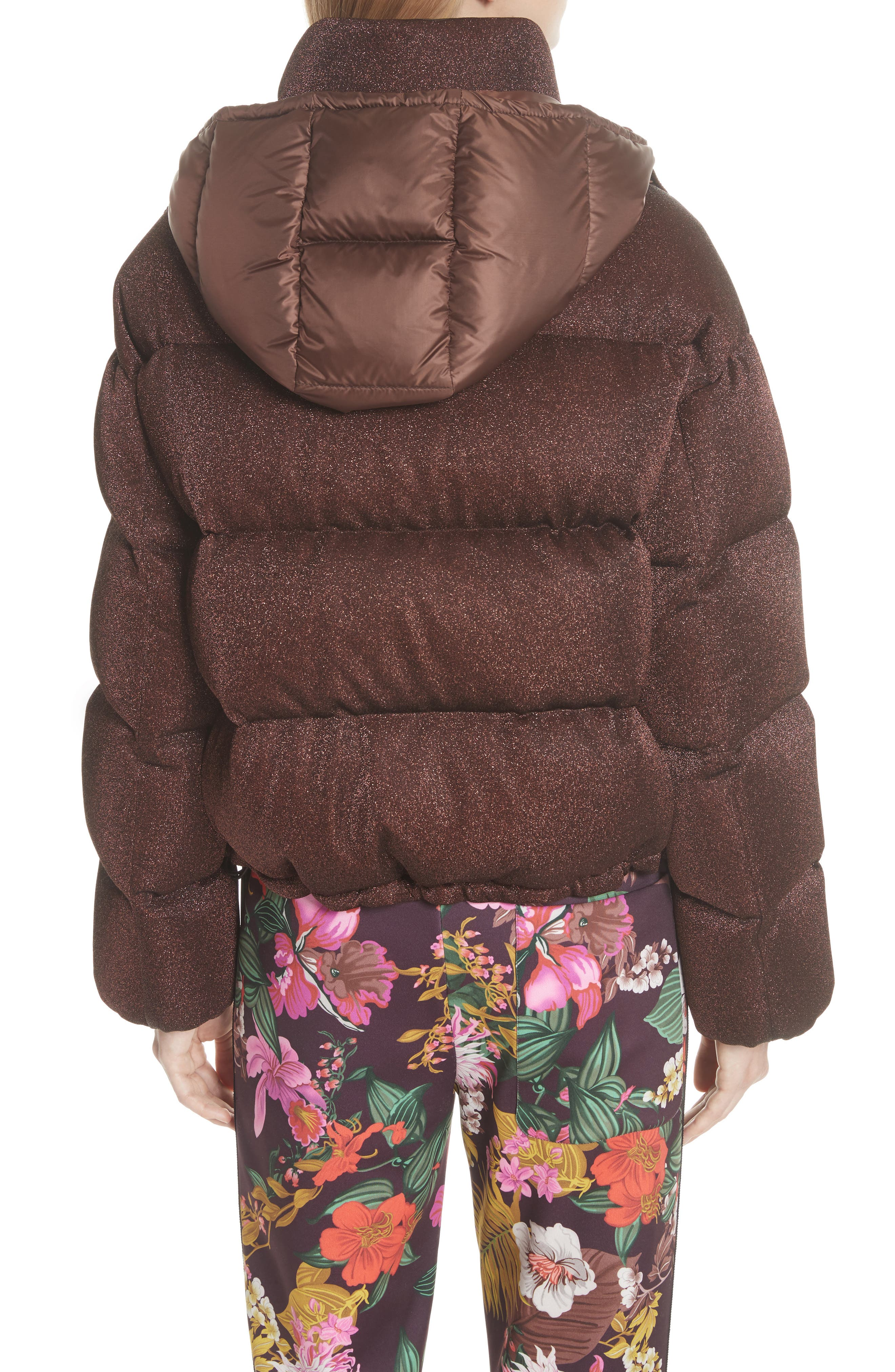 Caille Metallic Quilted Down Jacket,                             Alternate thumbnail 3, color,                             BROWN LUREX