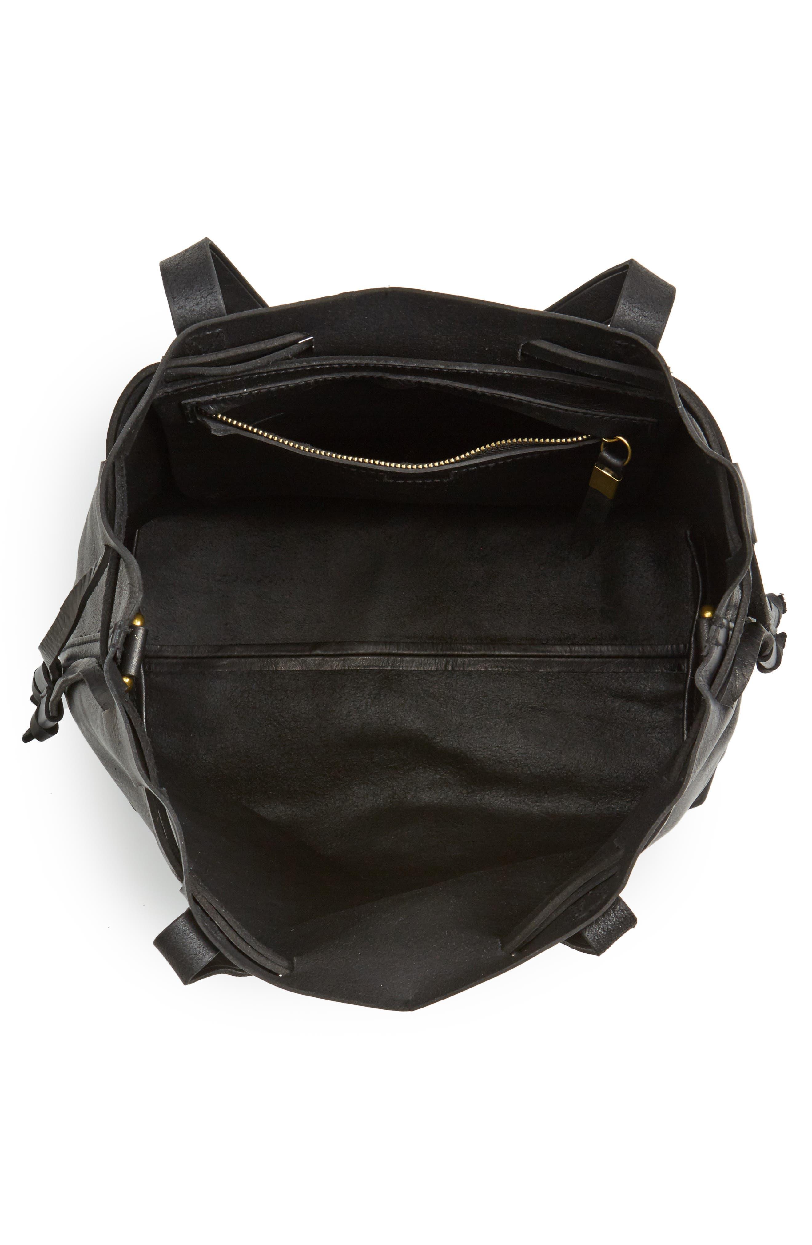 Medium Drawstring Transport Leather Tote,                             Alternate thumbnail 4, color,                             TRUE BLACK