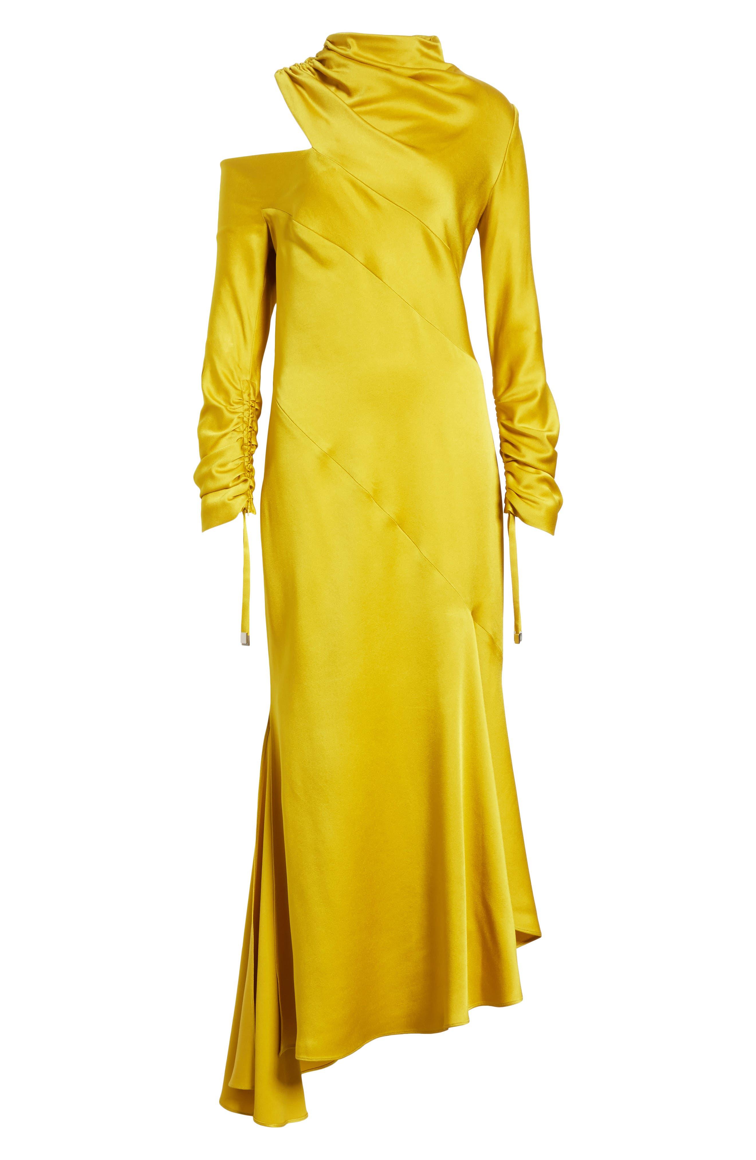 Crepe Back Satin Cold Shoulder Dress,                             Alternate thumbnail 6, color,                             700