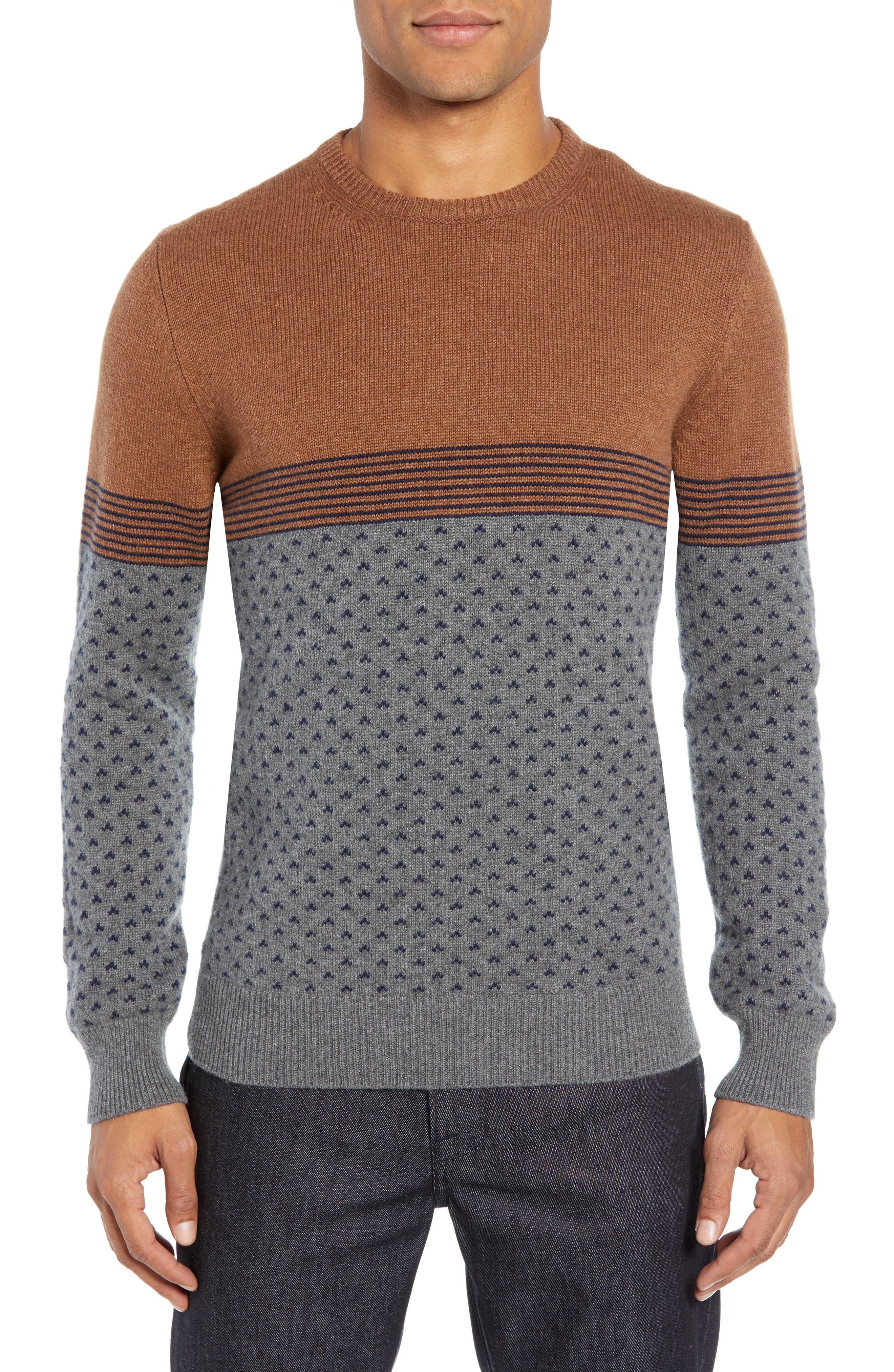 Trim Fit Cashmere Sweater,                             Main thumbnail 1, color,                             GREY