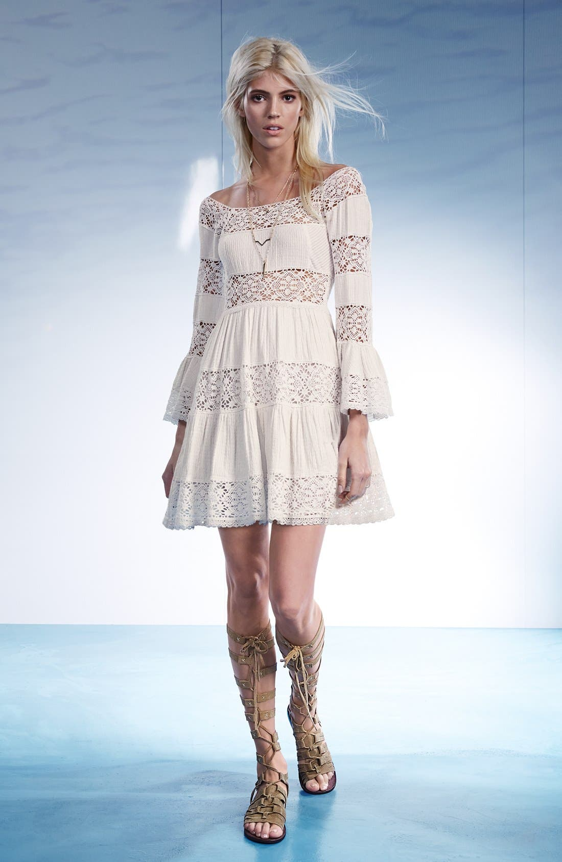 FREE PEOPLE,                             'Pippa' Gauze Fit & Flare Dress,                             Alternate thumbnail 5, color,                             800