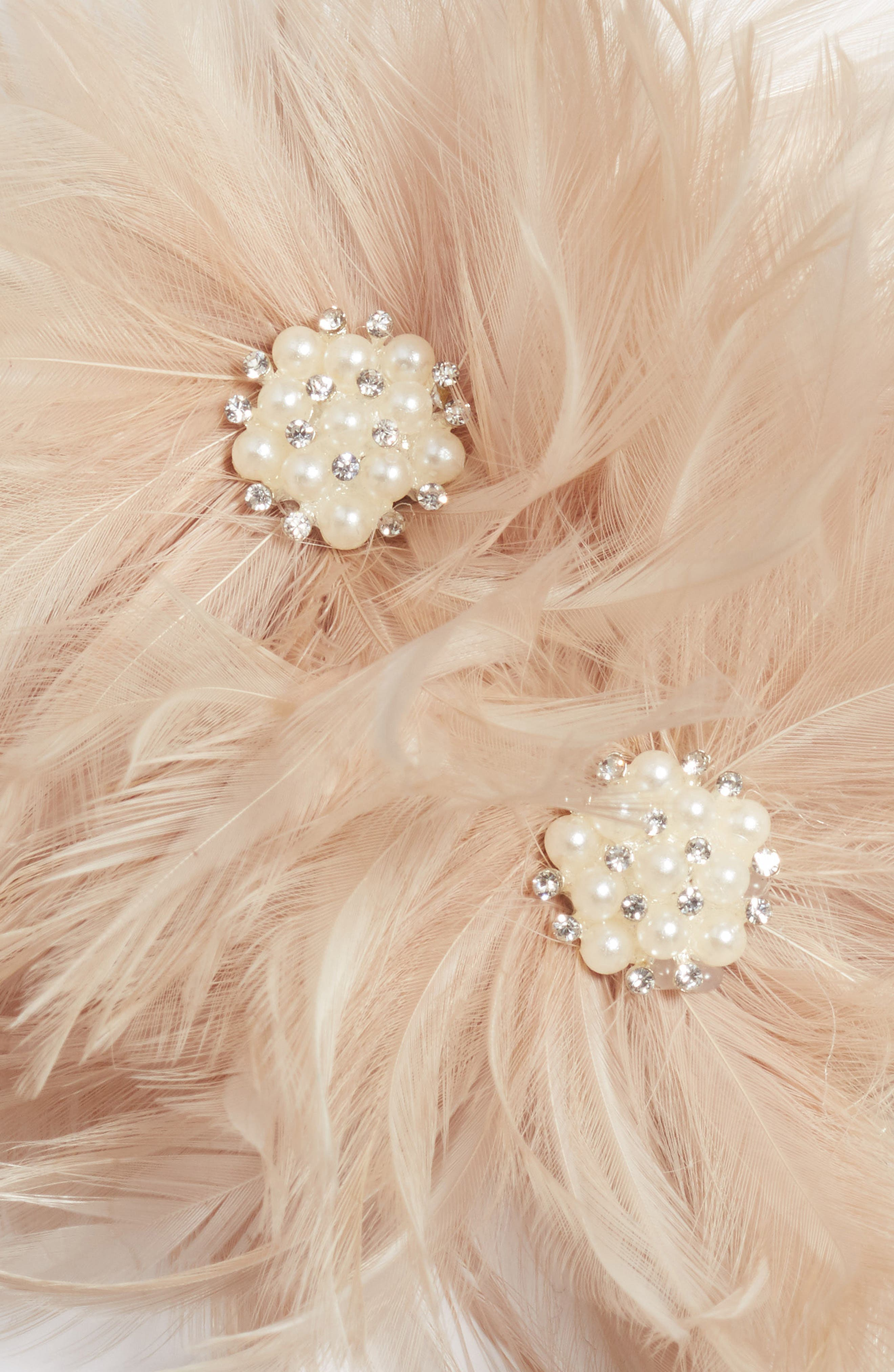 Henley Imitation Pearl & Feather Hair Comb,                             Alternate thumbnail 3, color,                             650