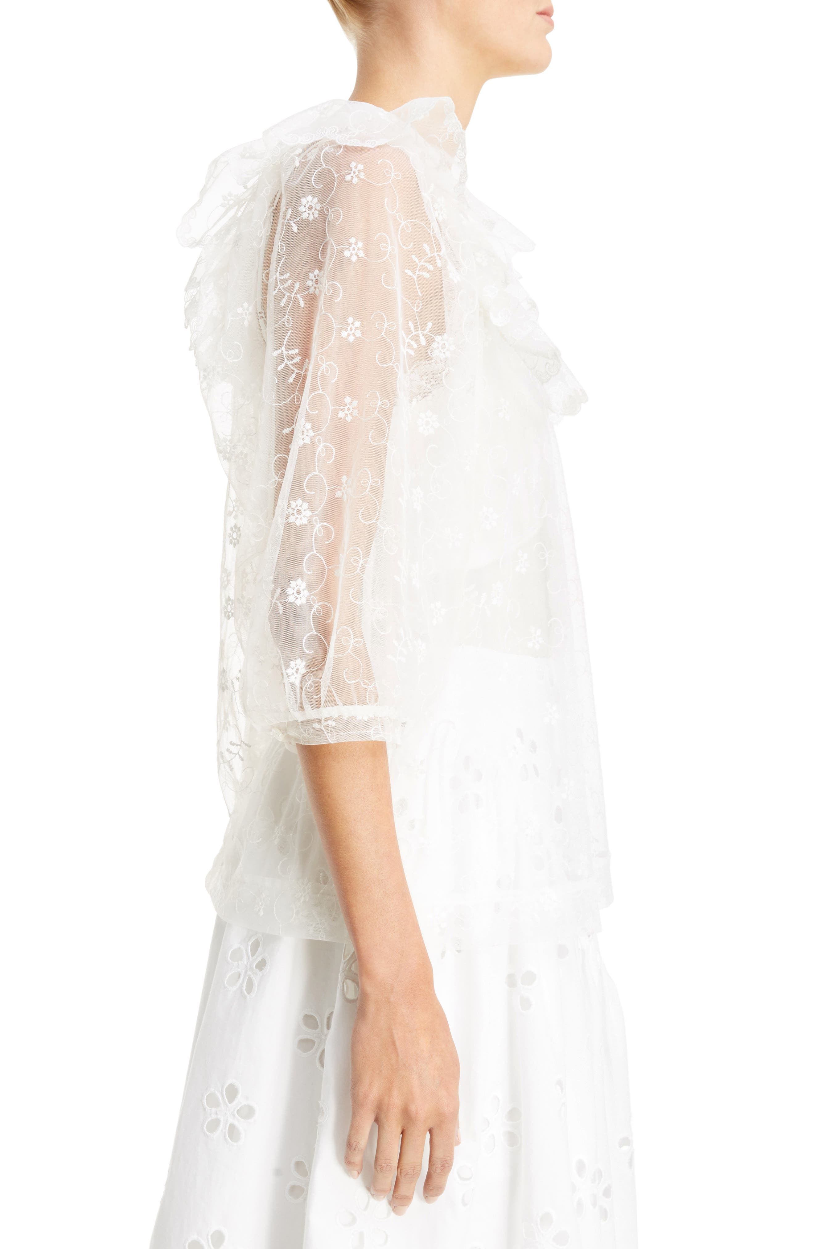 Frilled Bib Embroidered Tulle Top,                             Alternate thumbnail 3, color,                             900