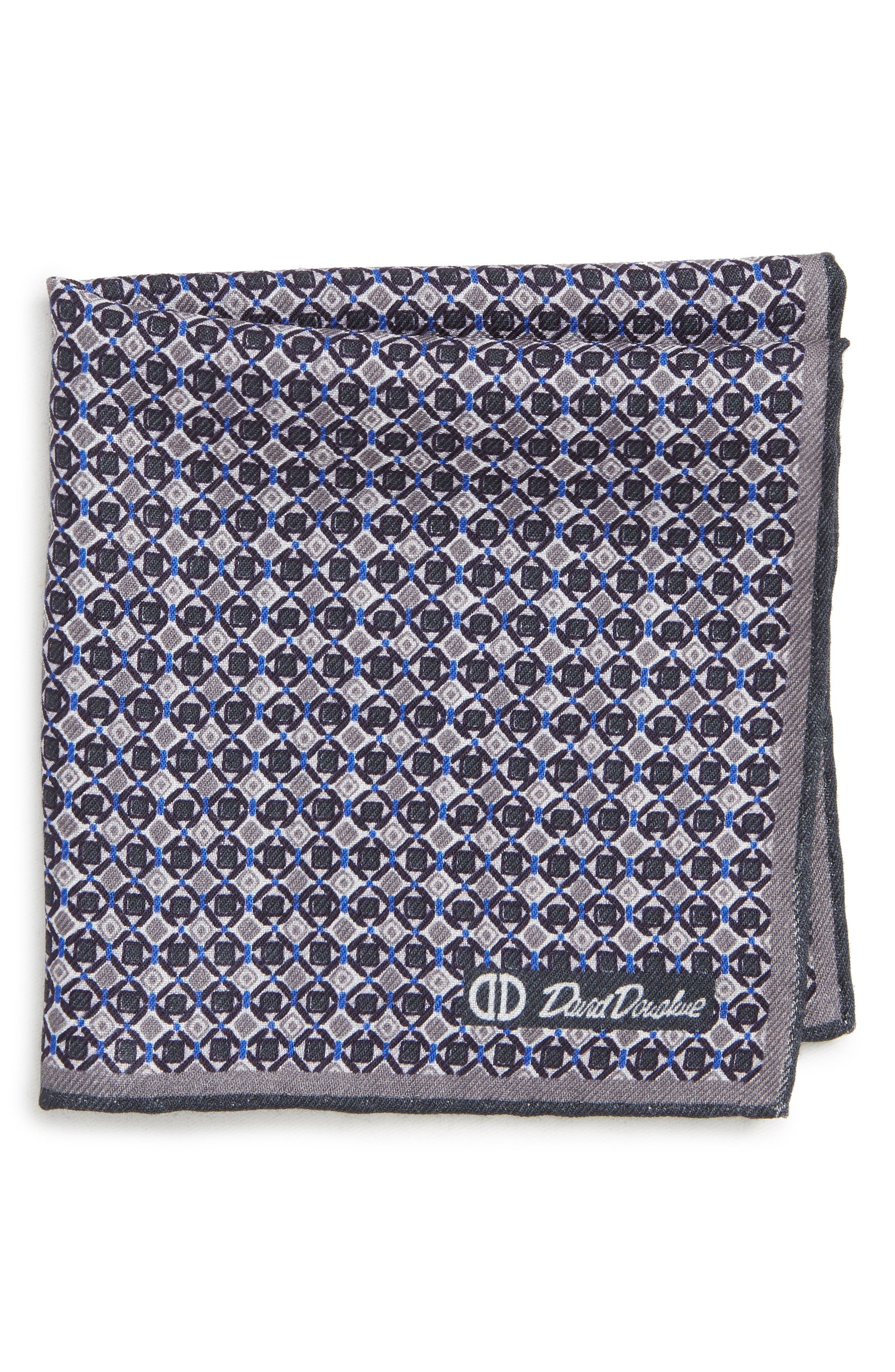 Geometric Wool & Silk Pocket Square,                             Main thumbnail 1, color,                             CHARCOAL