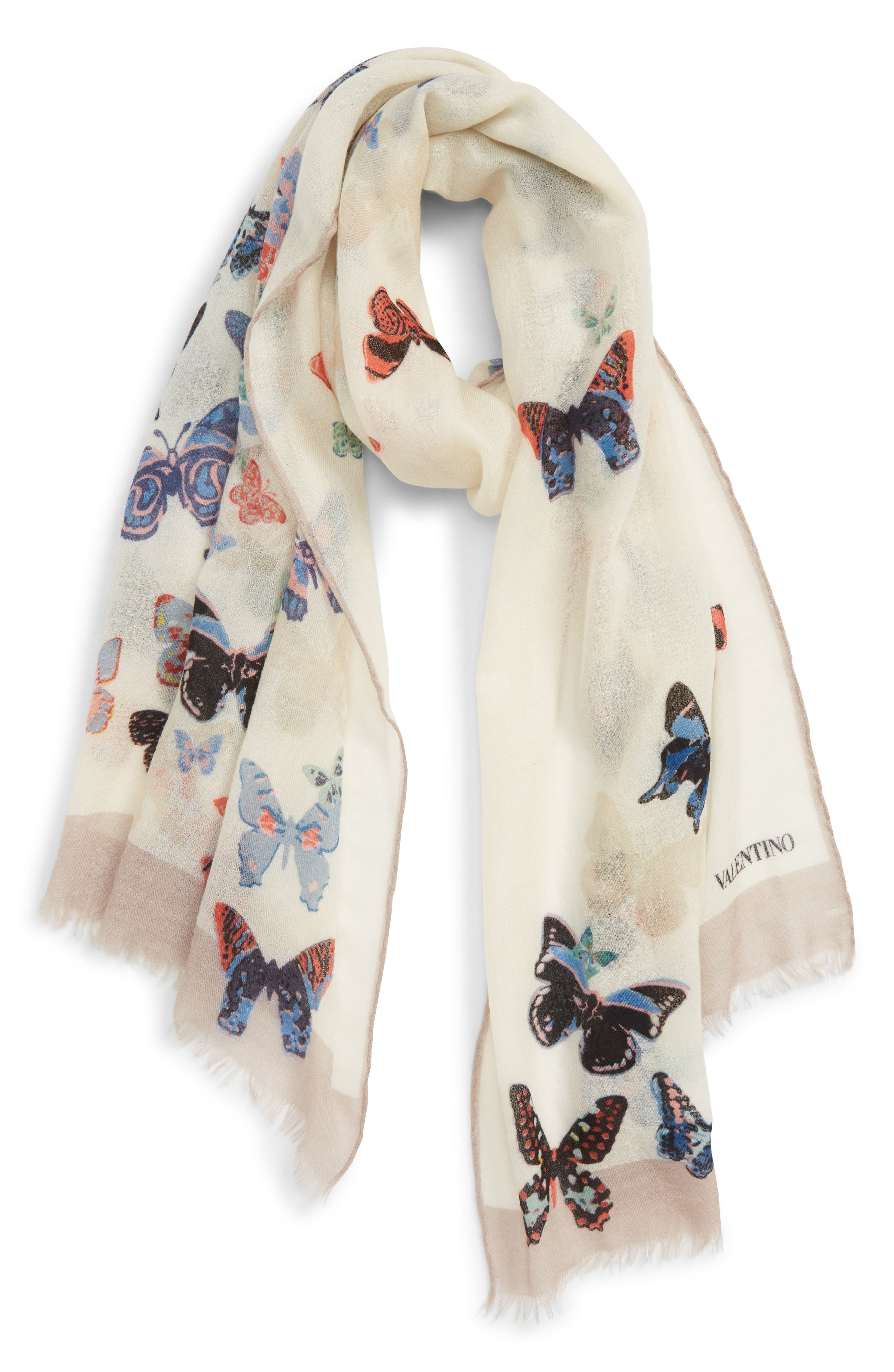 VALENTINO,                             Butterfly Wool Scarf,                             Main thumbnail 1, color,                             ALMOND