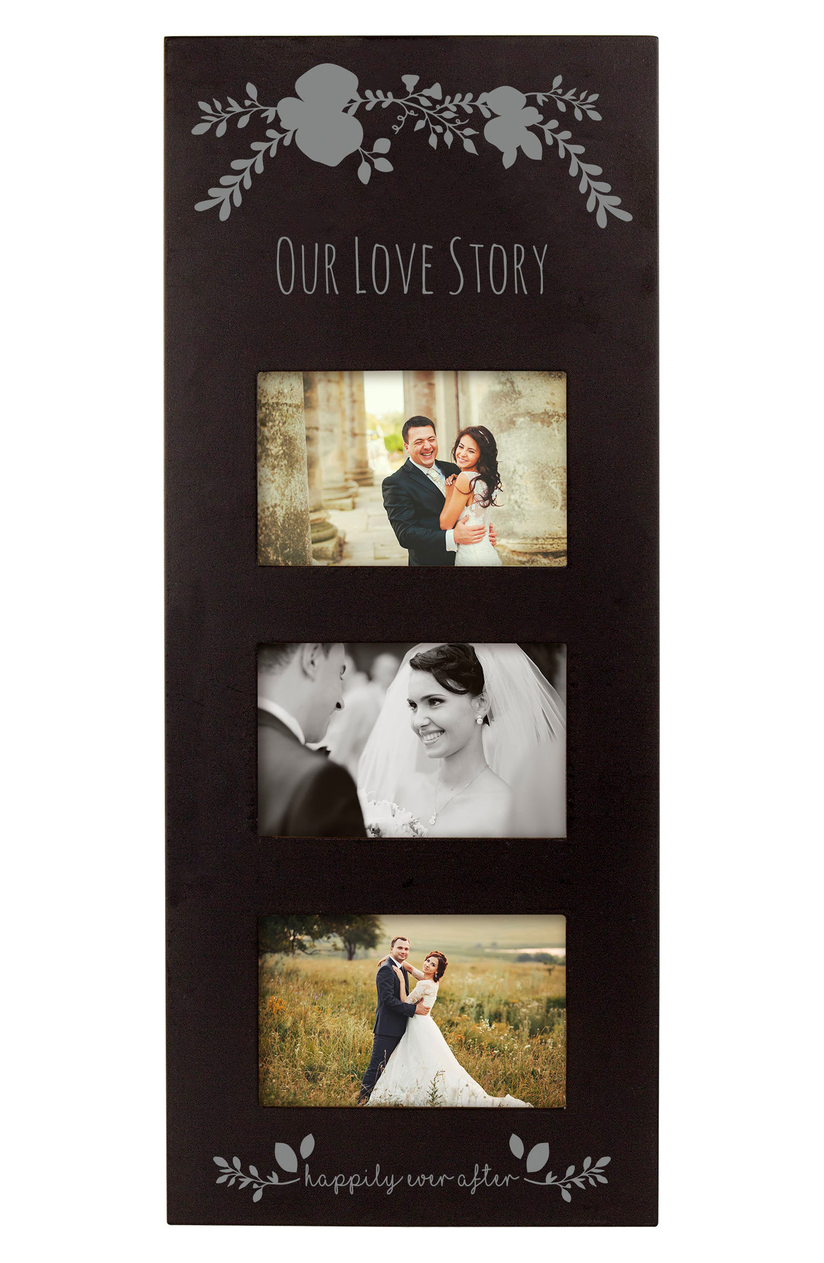 Silver Love Story 3-Window Picture Frame,                             Alternate thumbnail 2, color,                             001