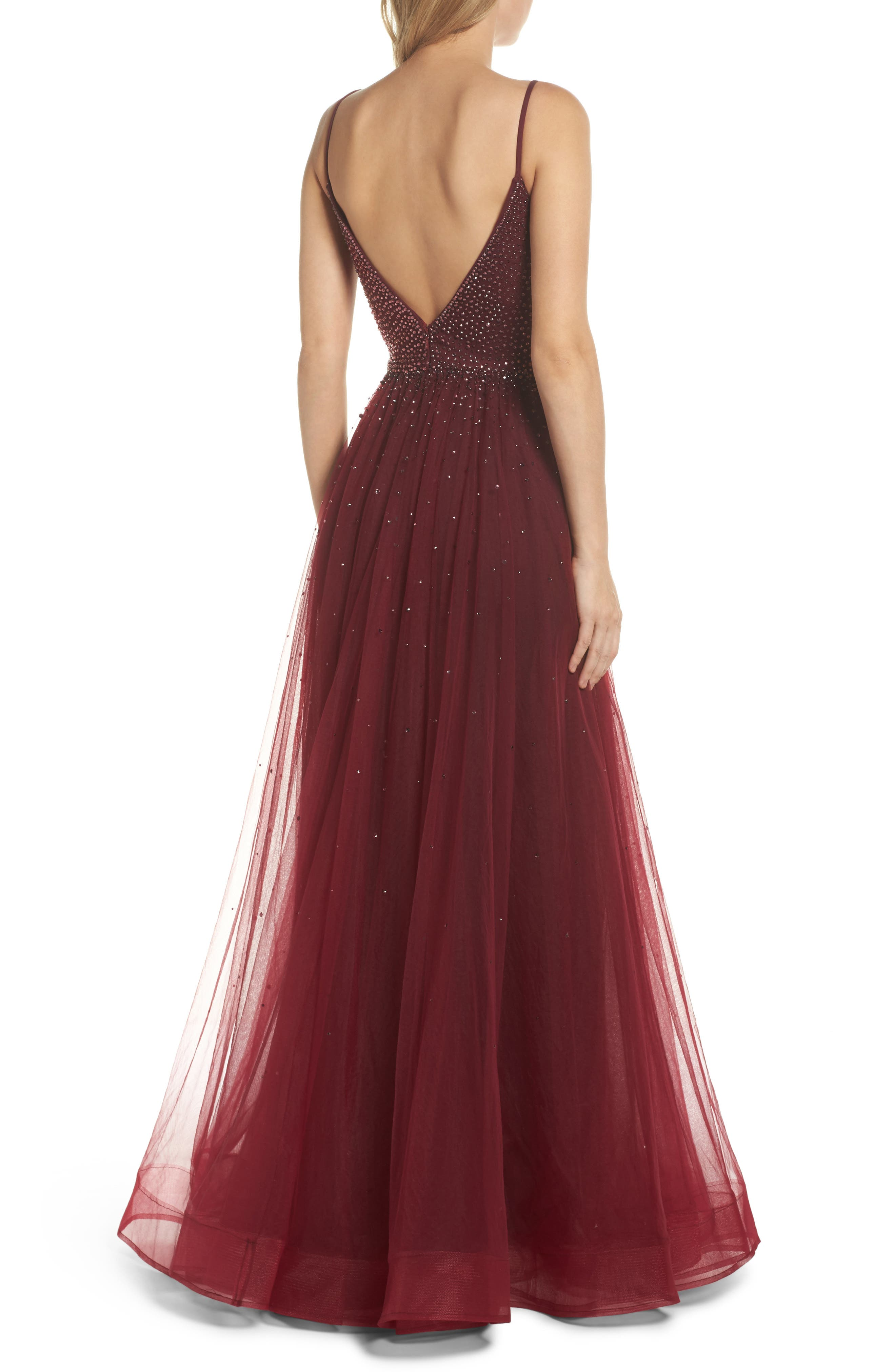 Embellished Illusion Plunge Gown,                             Alternate thumbnail 2, color,                             617