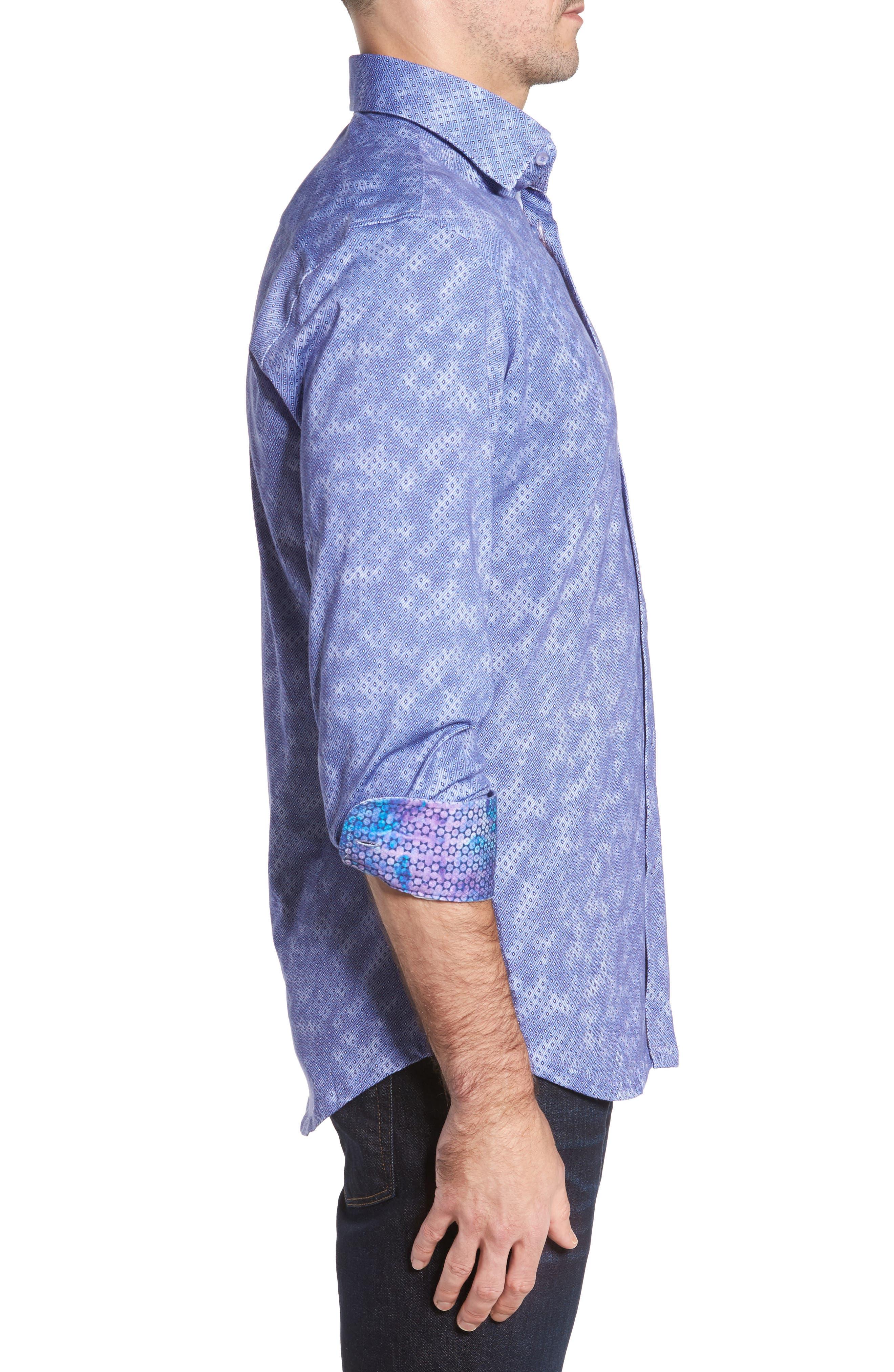 Slim Fit Wavy Diamond Print Sport Shirt,                             Alternate thumbnail 3, color,                             400
