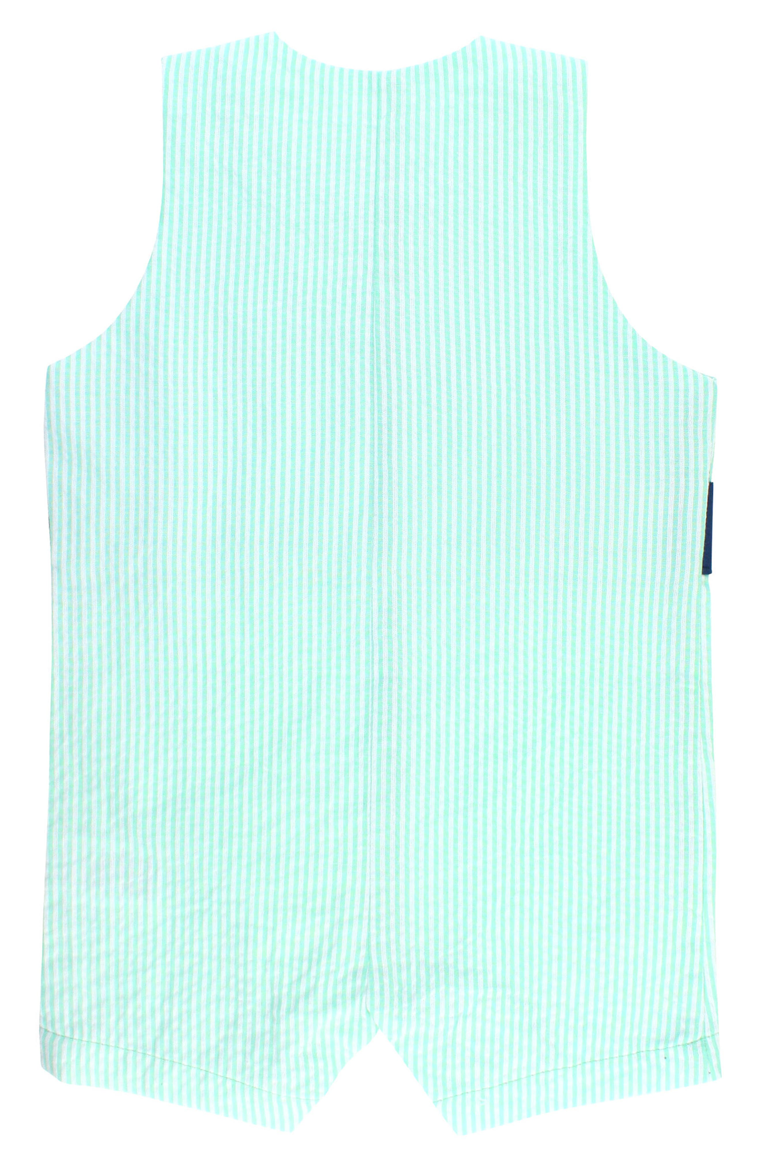 Seersucker Stripe Overalls,                             Alternate thumbnail 2, color,                             MINT