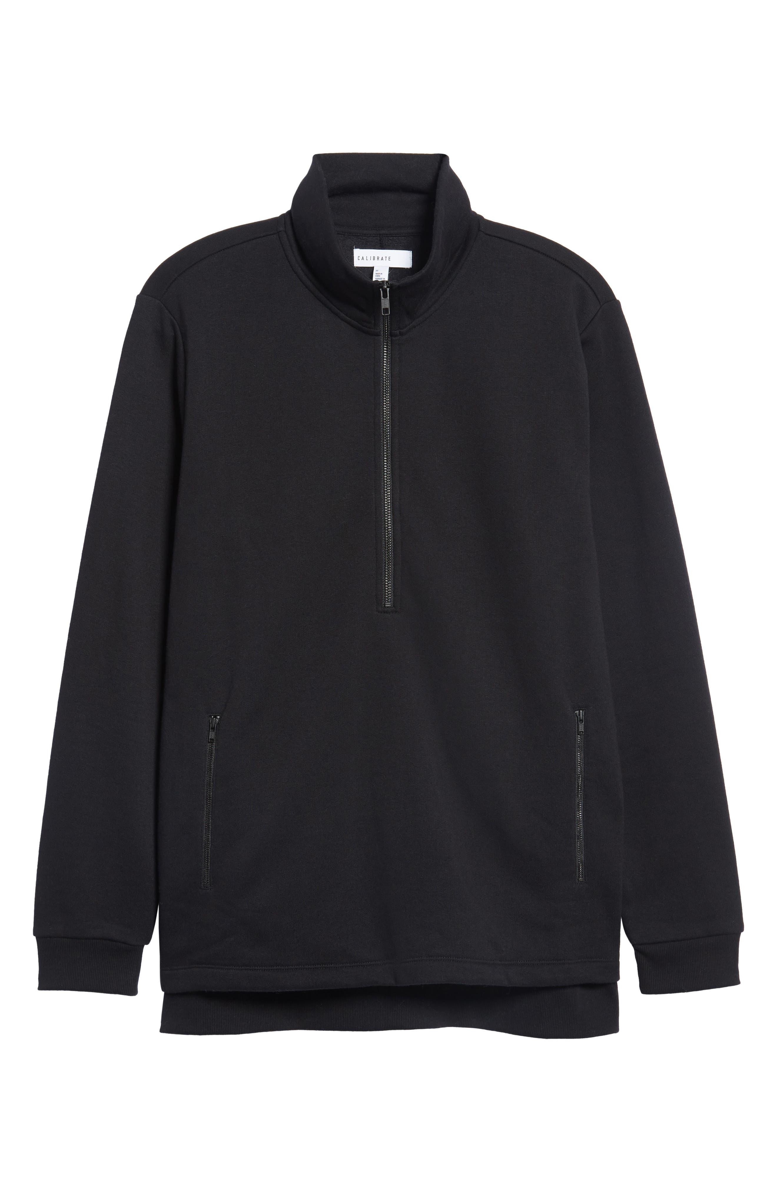 Quarter Zip Fleece Pullover,                             Alternate thumbnail 6, color,                             001