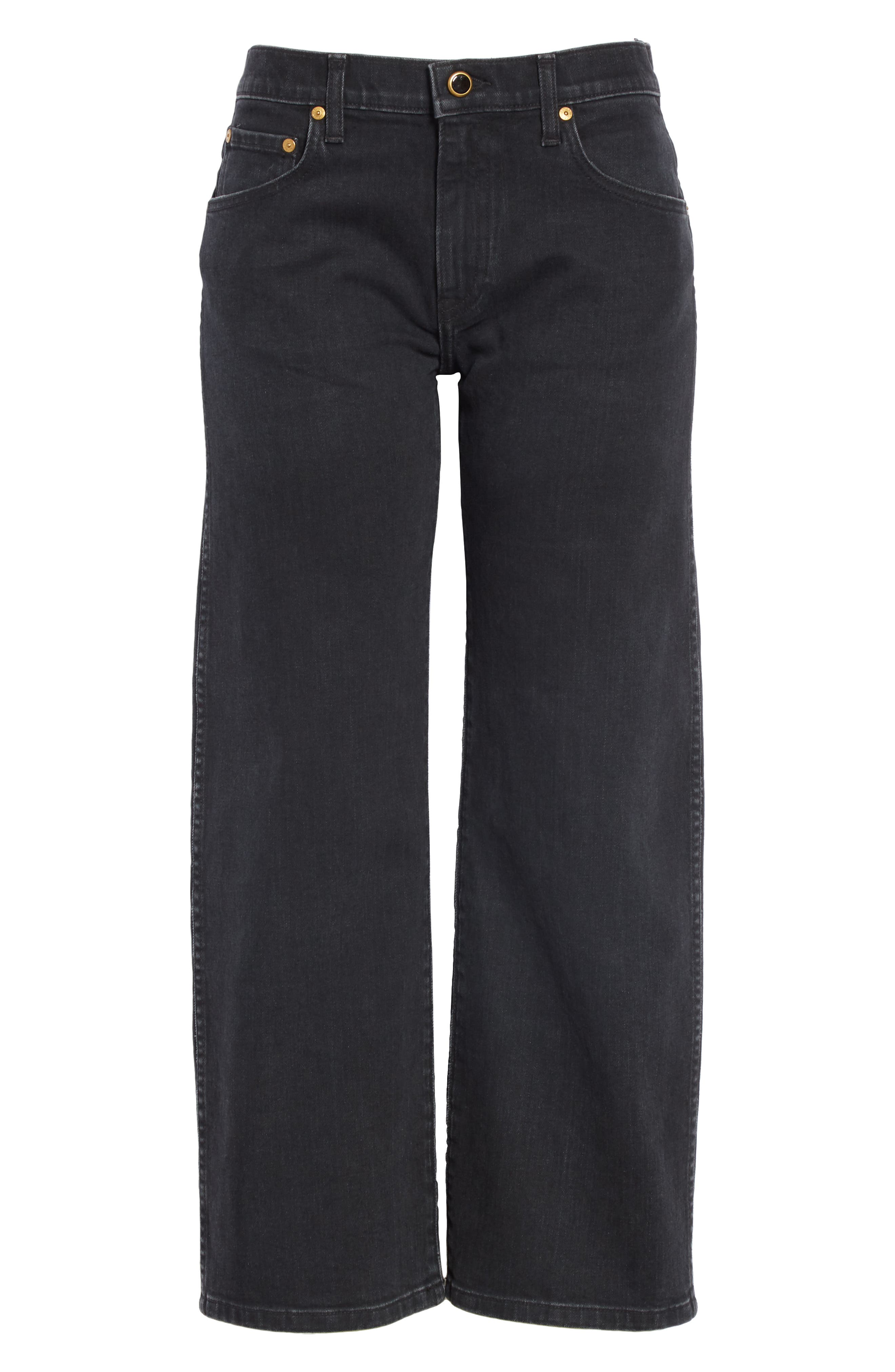KHAITE,                             Wendell Wide Leg Crop Jeans,                             Alternate thumbnail 6, color,                             STONED BLACK