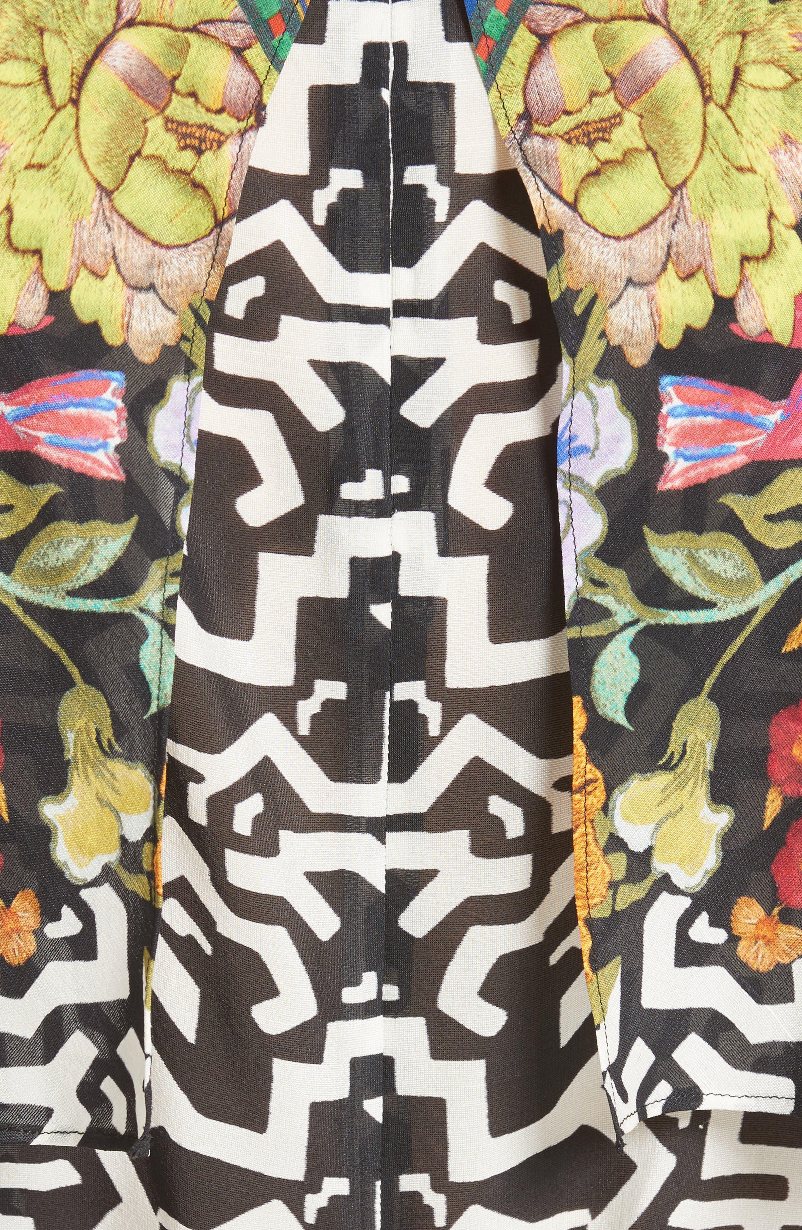 Floral & Maze Print Silk Blouse,                             Alternate thumbnail 5, color,                             650