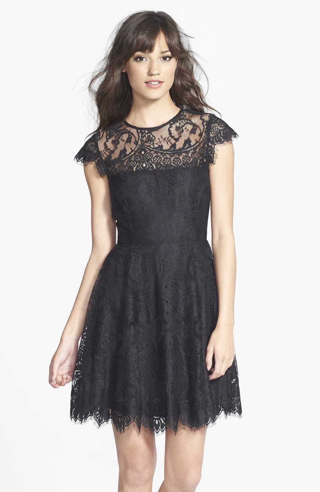 'Rhianna' Illusion Yoke Lace Fit & Flare Dress,                             Main thumbnail 1, color,                             BLACK