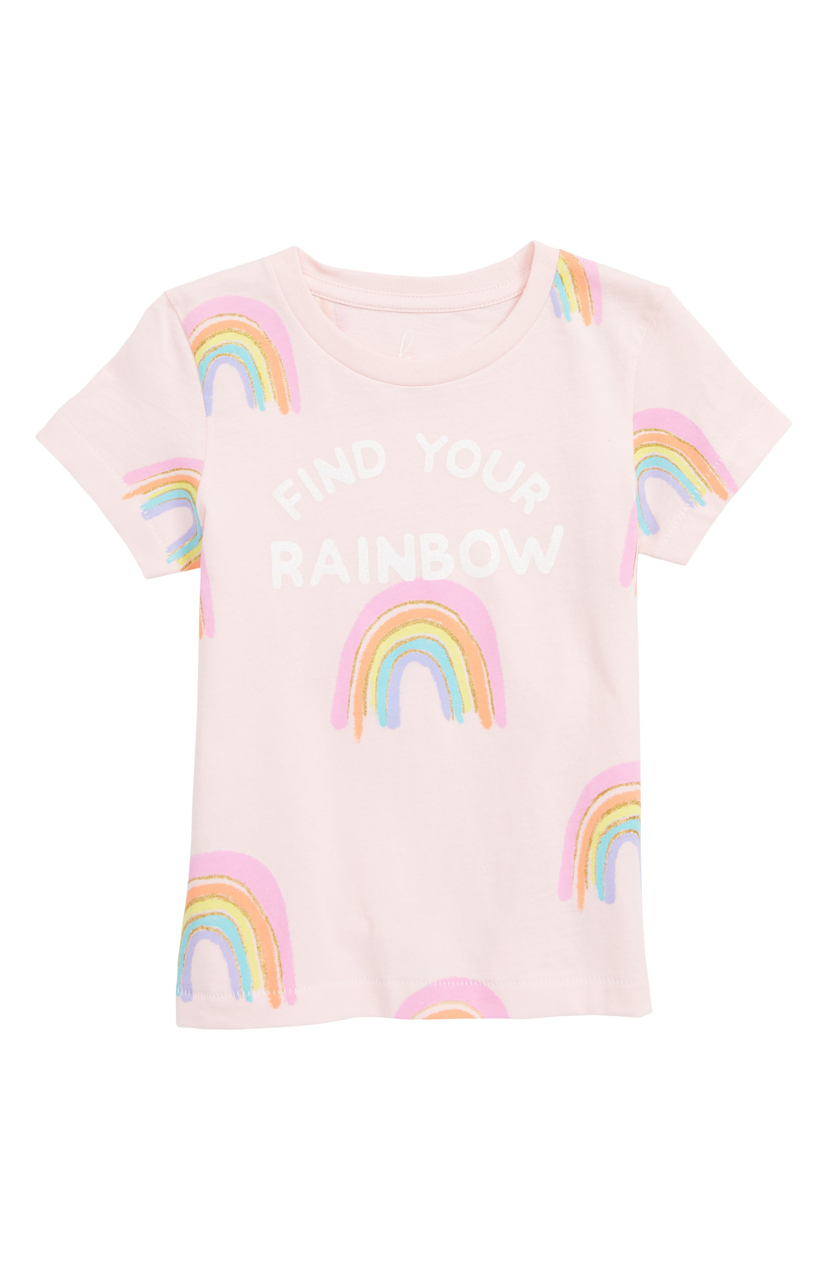 PEEK AREN'T YOU CURIOUS,                             Peek Find Your Rainbow Graphic Tee,                             Main thumbnail 1, color,                             PINK