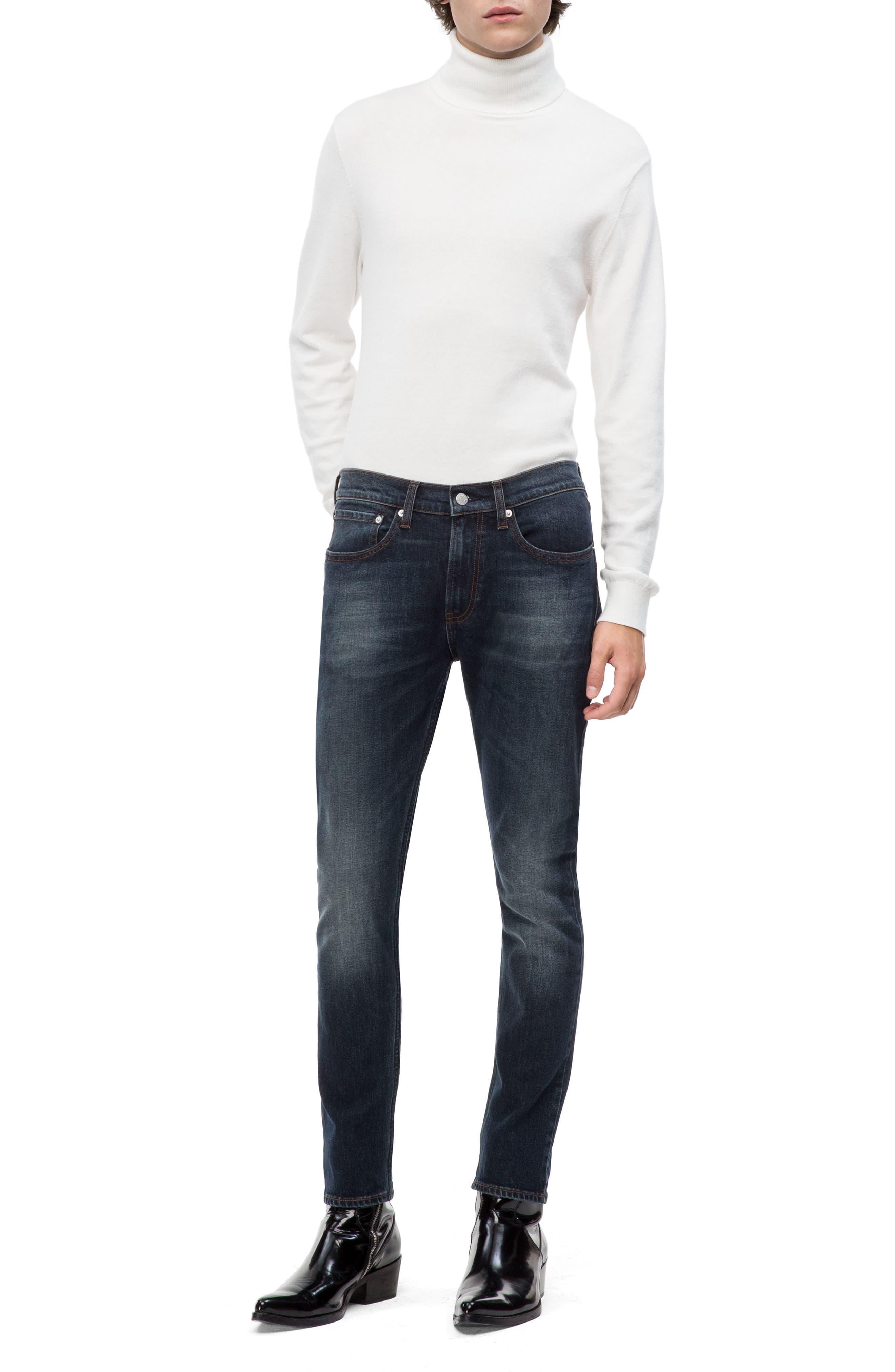 Skinny Slim Fit Jeans,                             Alternate thumbnail 4, color,                             PEDRO BLUE
