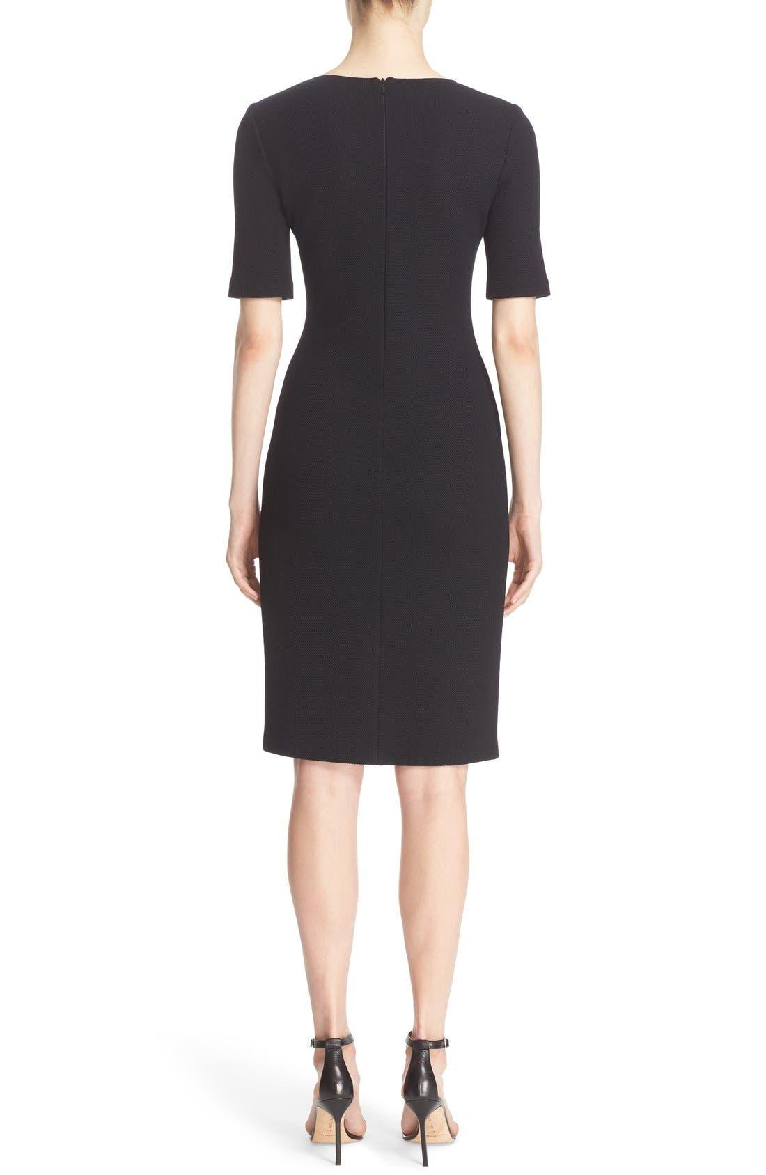 Milano Piqué Knit Scoop Neck Dress,                             Alternate thumbnail 3, color,                             001