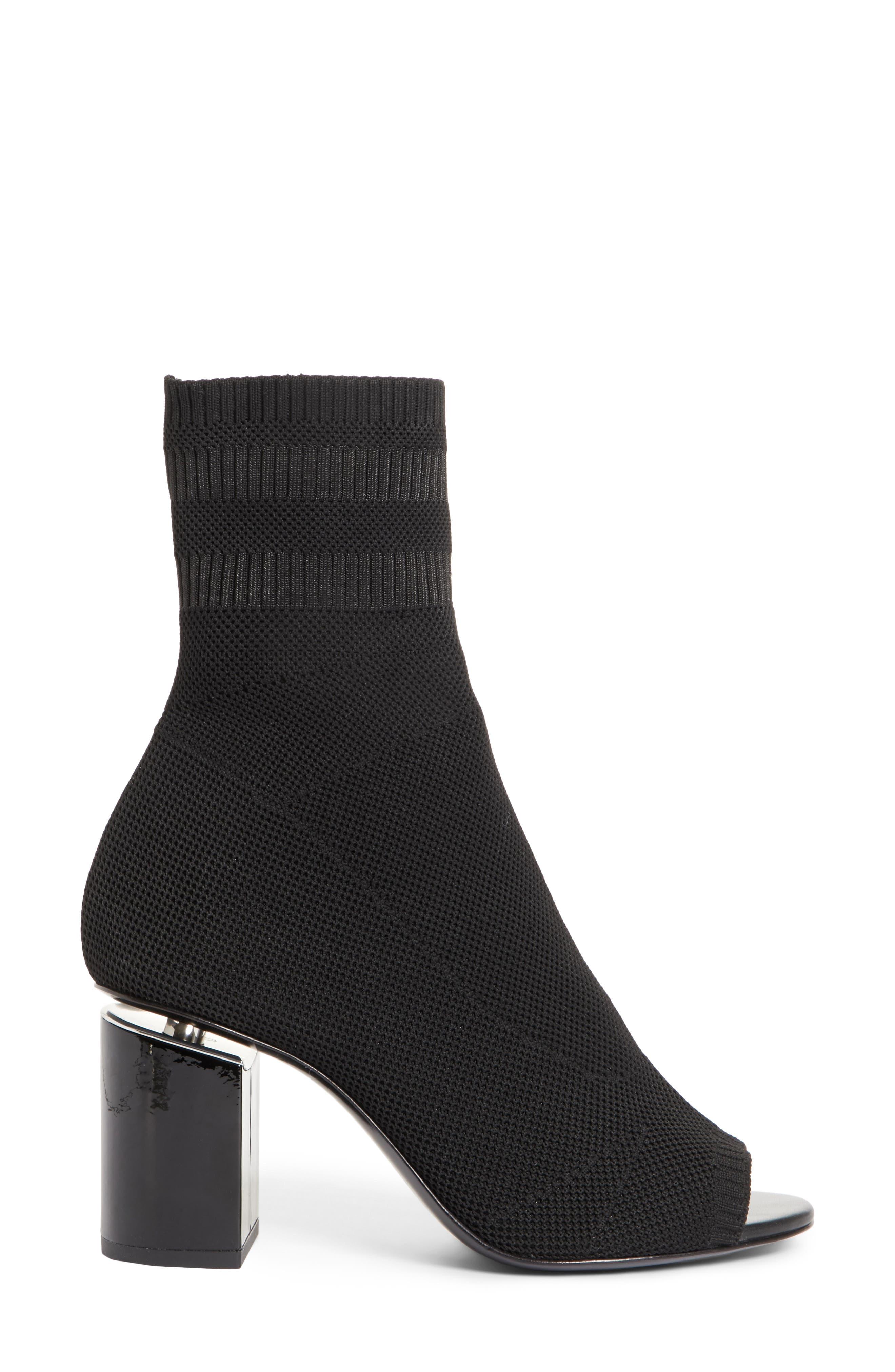Cat Knit Sock Boot,                             Alternate thumbnail 3, color,                             BLACK