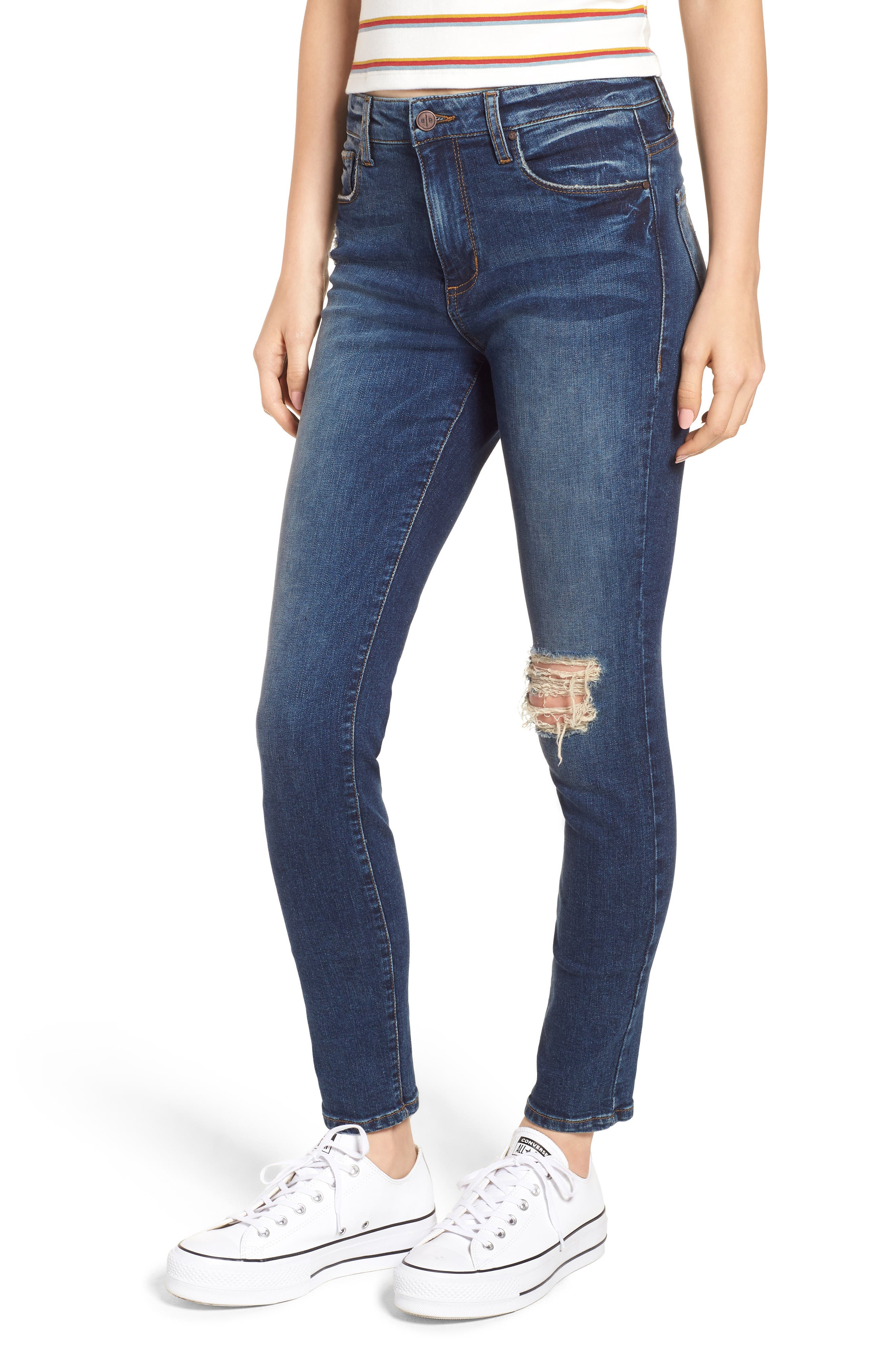 Ripped High Waist Skinny Jeans,                             Main thumbnail 1, color,                             000
