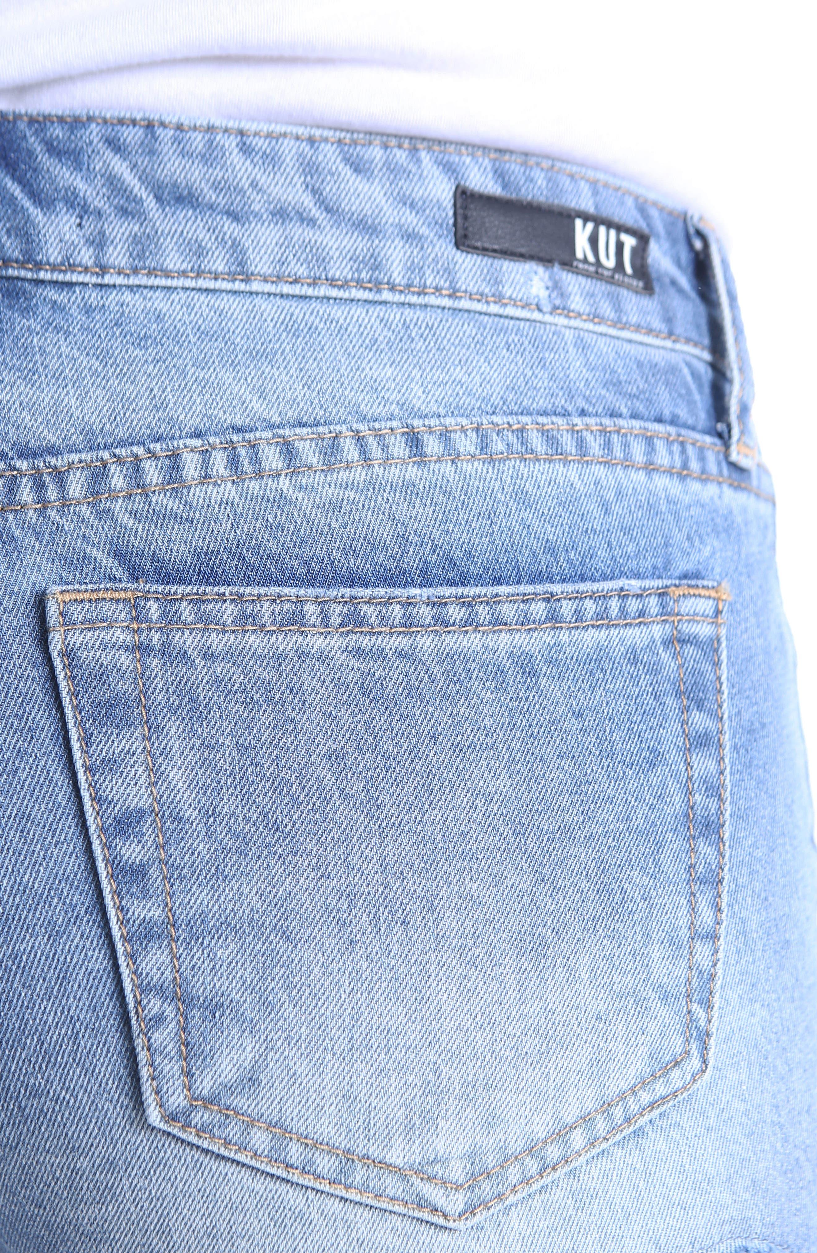 Allison Lace Border Denim Shorts,                             Alternate thumbnail 5, color,