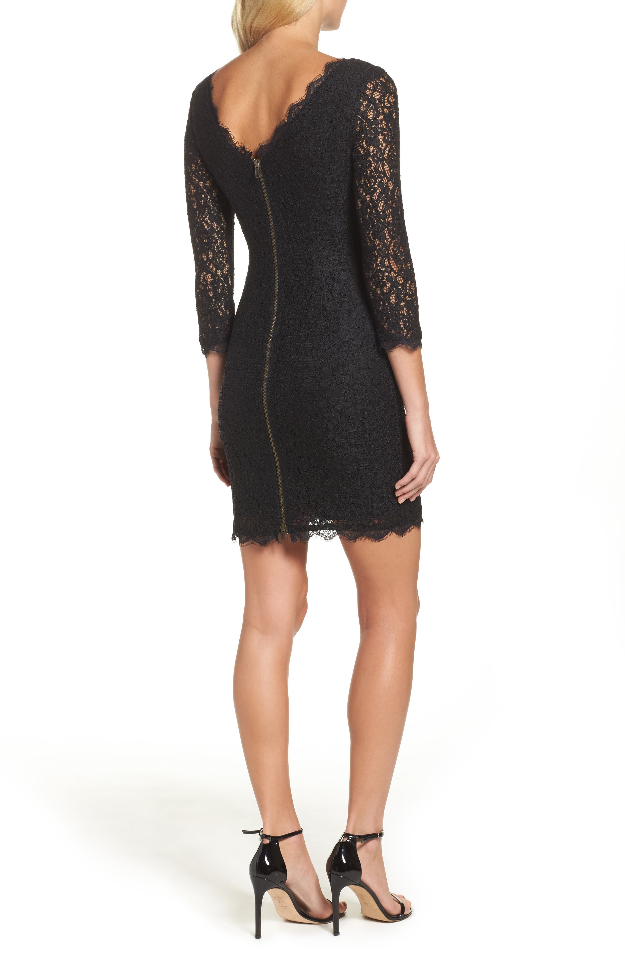 Lace Overlay Sheath Dress,                             Alternate thumbnail 3, color,                             001