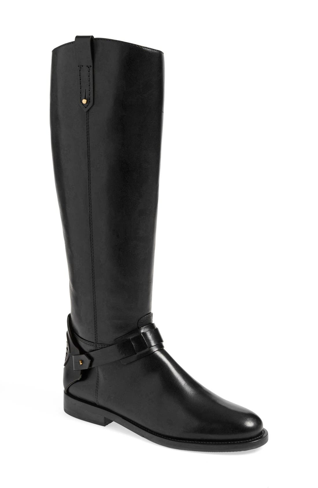 'Derby' Leather Riding Boot,                             Main thumbnail 1, color,                             001