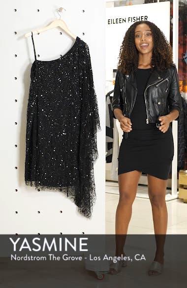 Beaded One-Shoulder Sheath Dress, sales video thumbnail