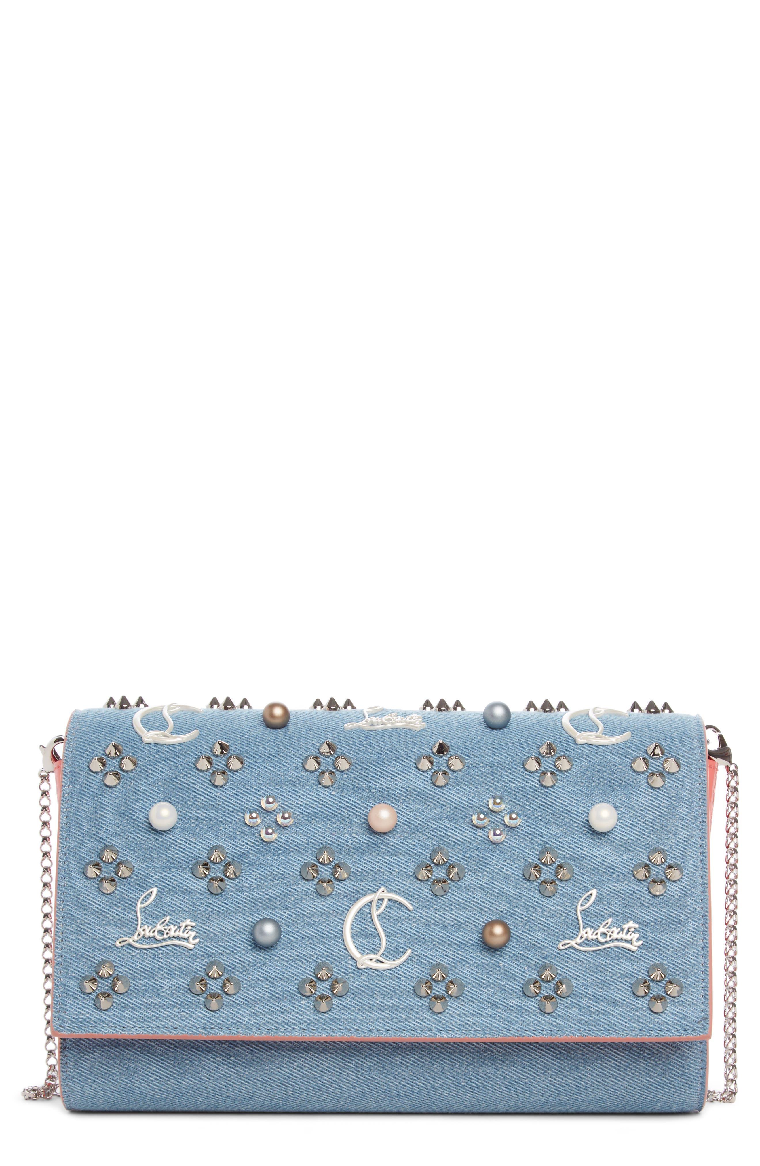 Paloma Studded Denim Clutch,                             Main thumbnail 1, color,                             BLUE/ PEARL MIX