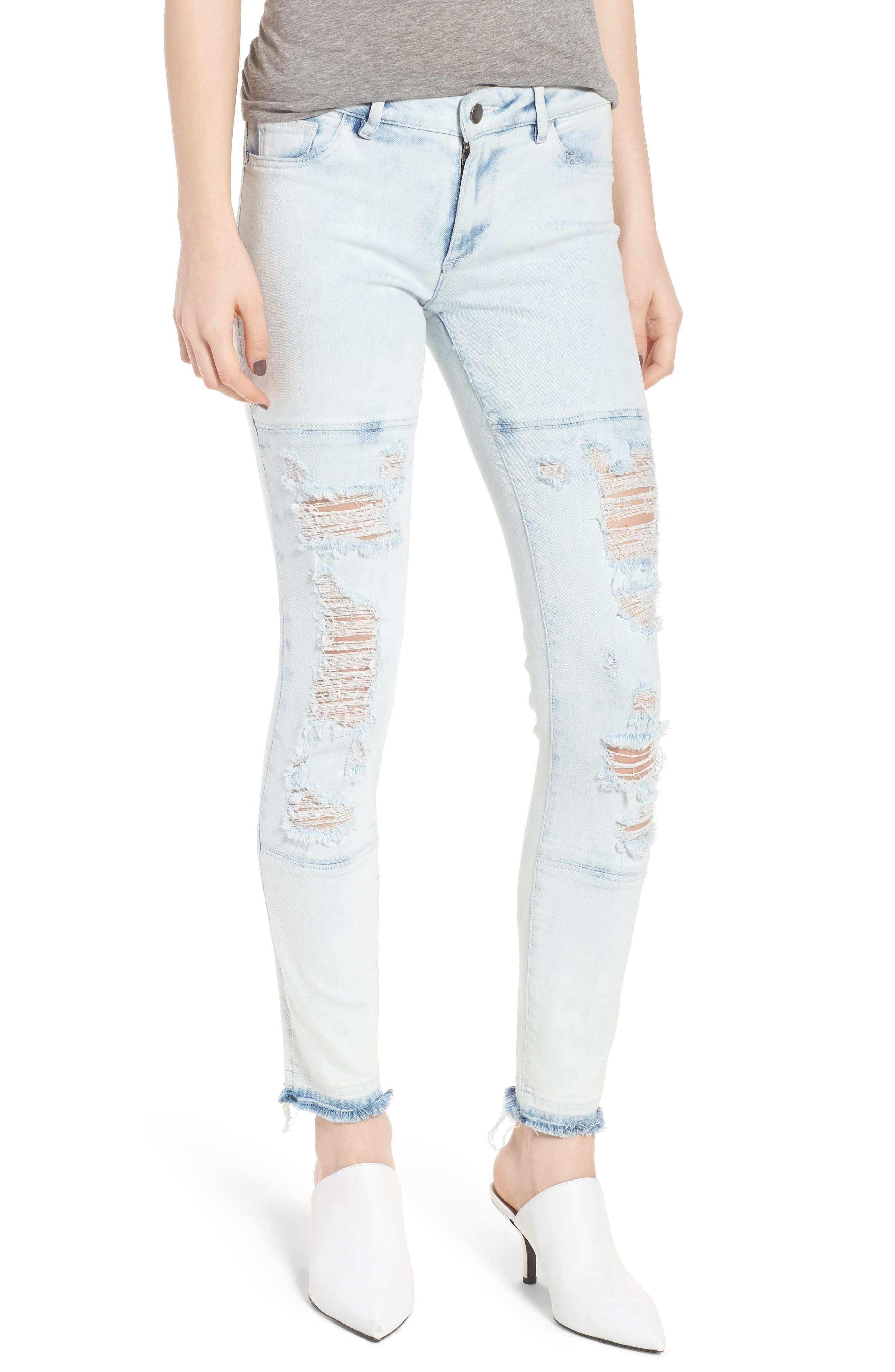 Emma Power Legging Ripped Skinny Jeans,                         Main,                         color, 020