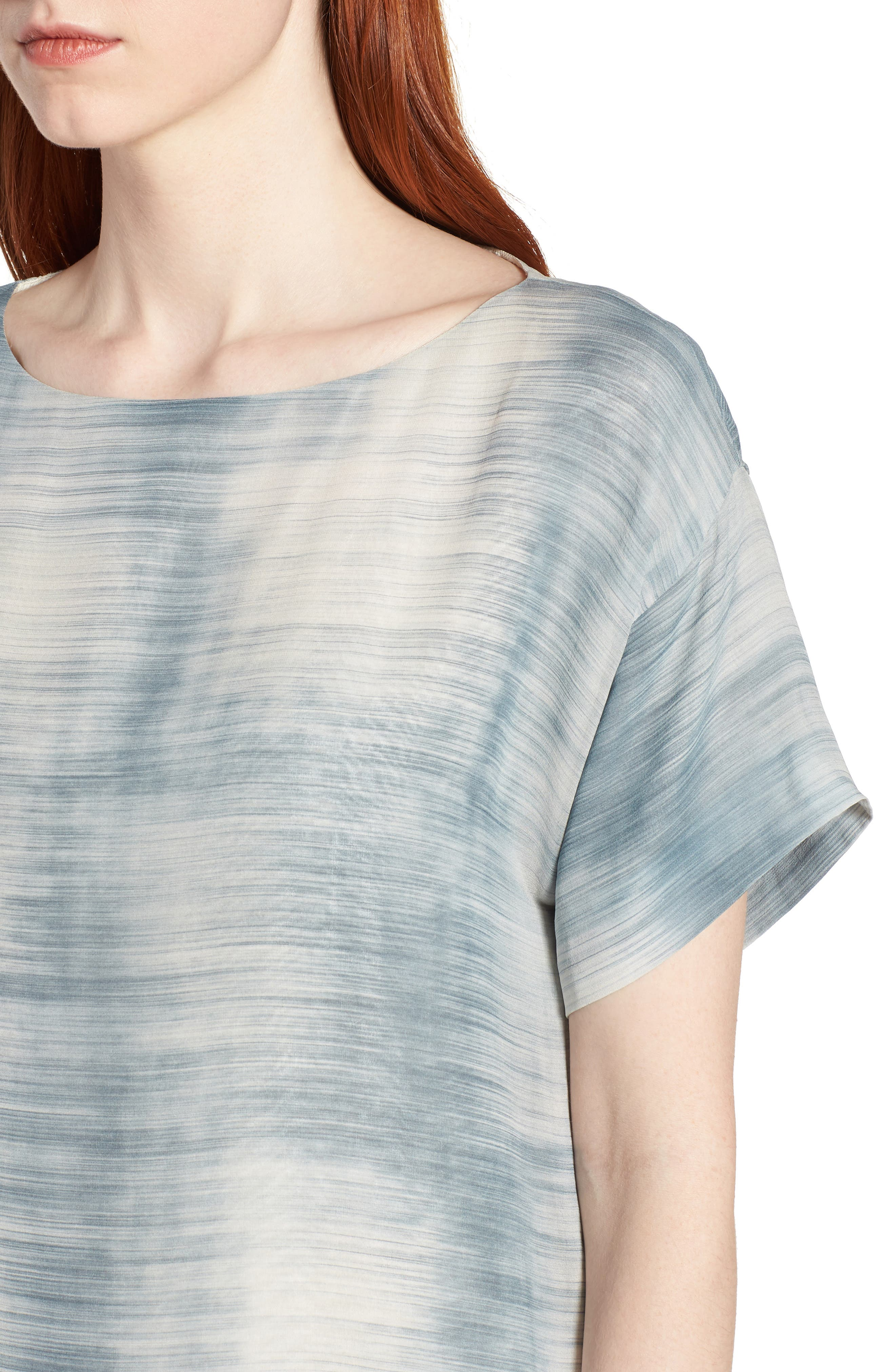 Bateau Neck Silk Shift Dress,                             Alternate thumbnail 9, color,