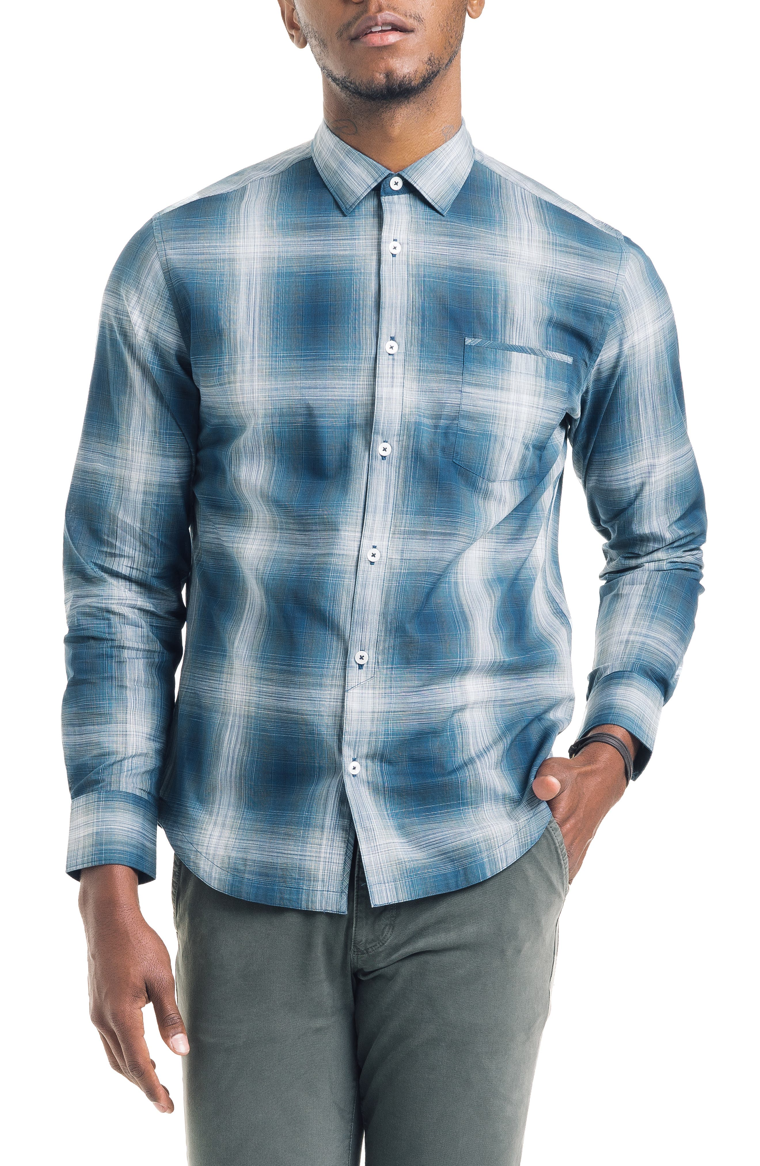 Bonsai Slim Fit Sport Shirt,                         Main,                         color, SEA