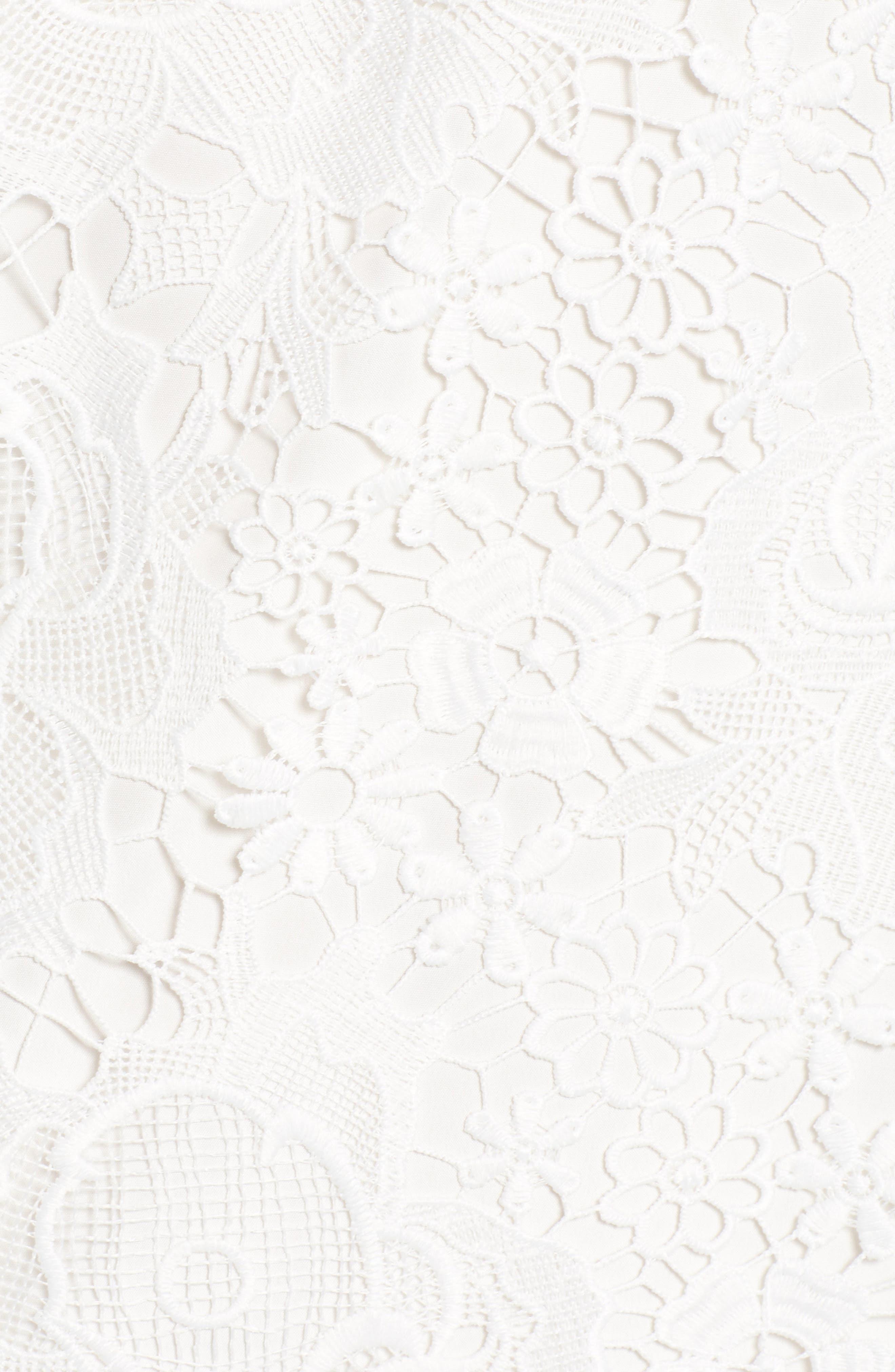Floral Lace Shift Dress,                             Alternate thumbnail 6, color,                             WHITE