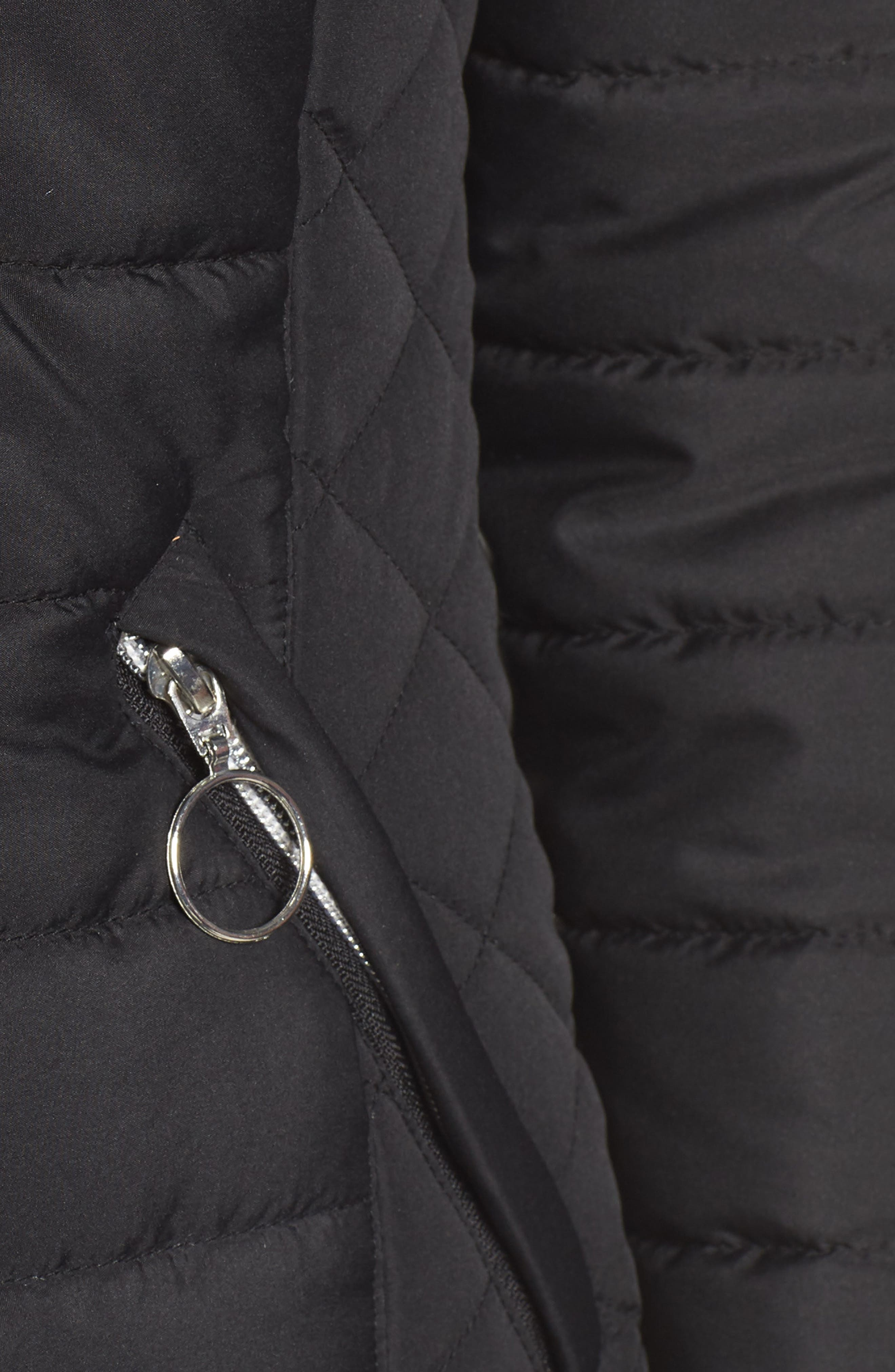 Hooded Quilted Jacket,                             Alternate thumbnail 7, color,                             BLACK