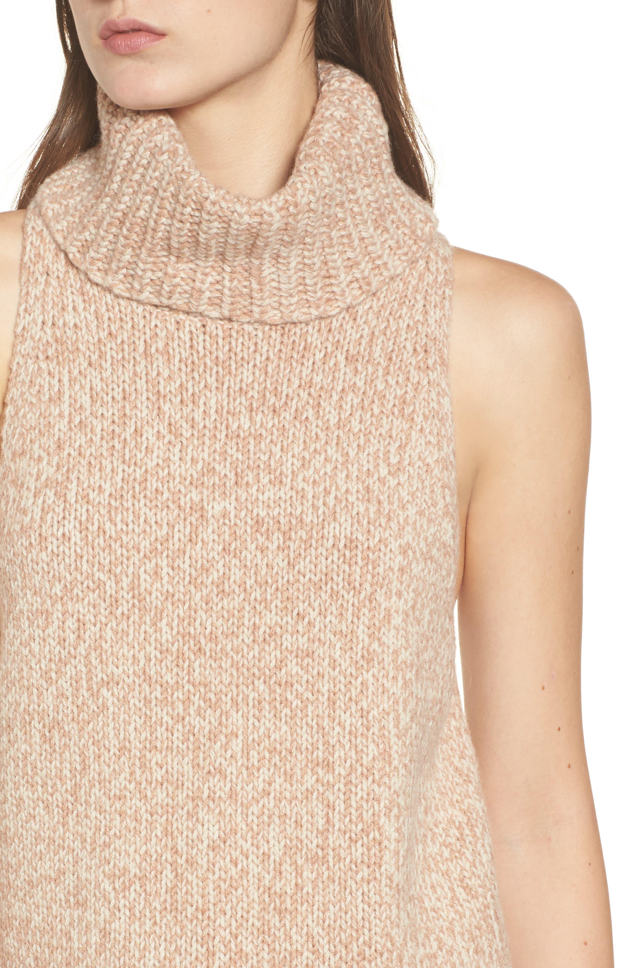 Marled Sleeveless Turtleneck Sweater,                             Alternate thumbnail 4, color,                             201